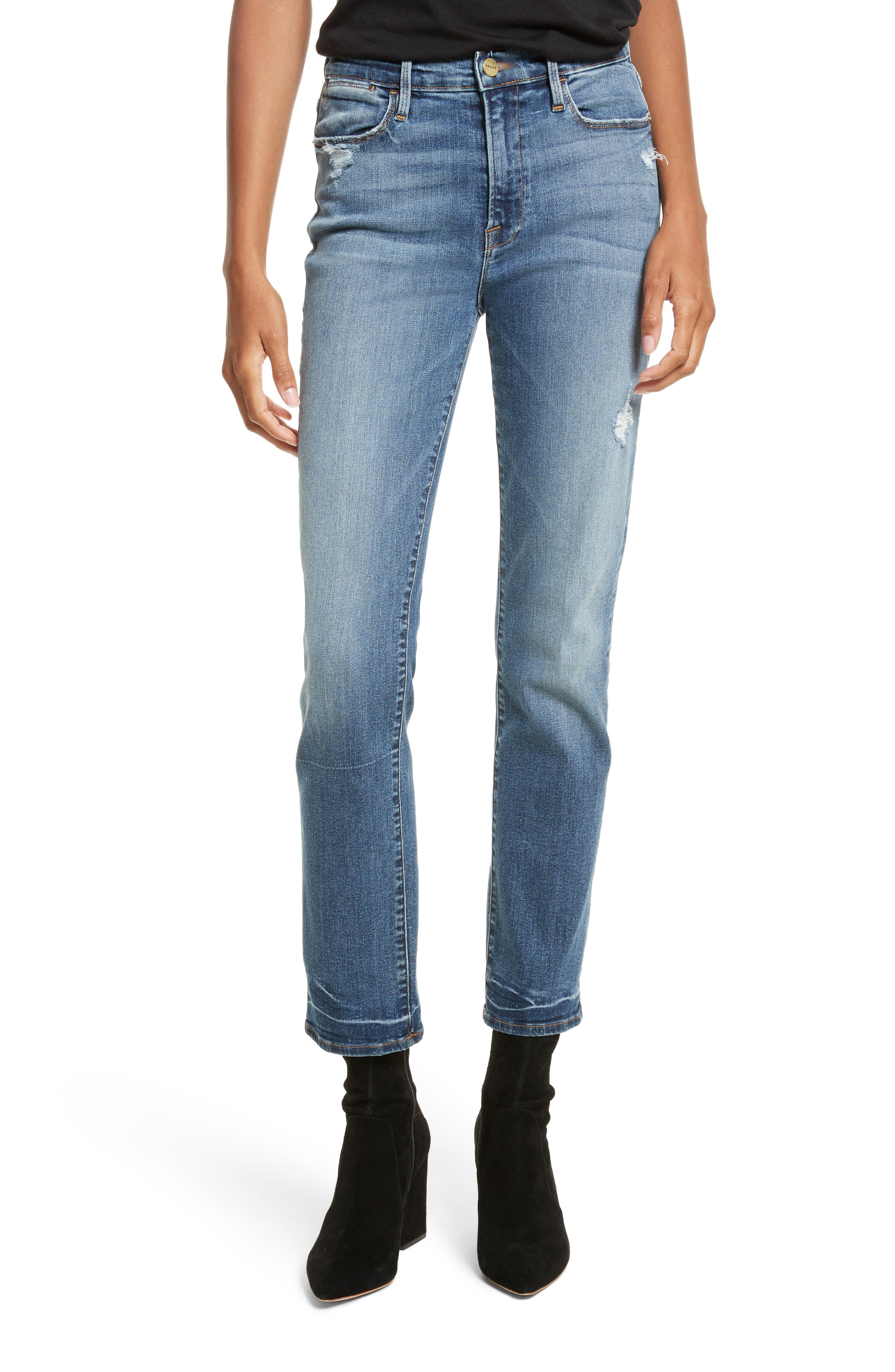 Le High Straight High Waist Crop Jeans,                         Main,                         color, Whitwell