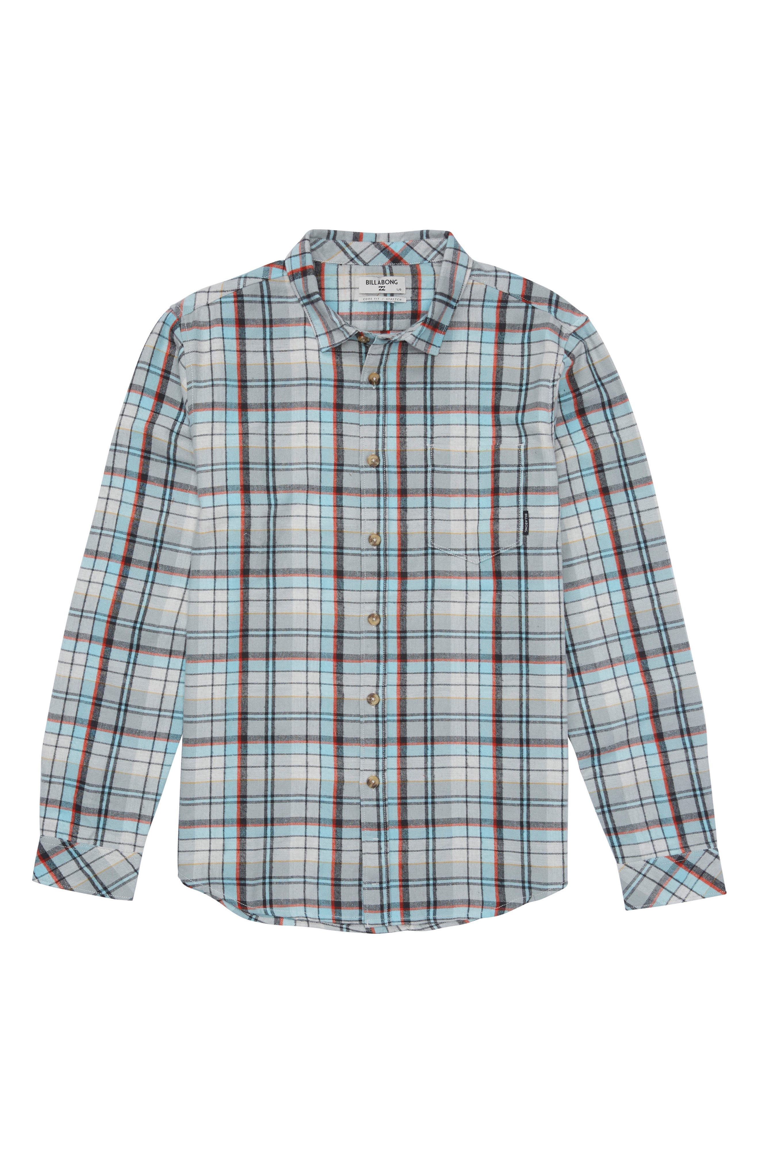 Coastline Plaid Flannel Shirt,                             Main thumbnail 1, color,                             Stone
