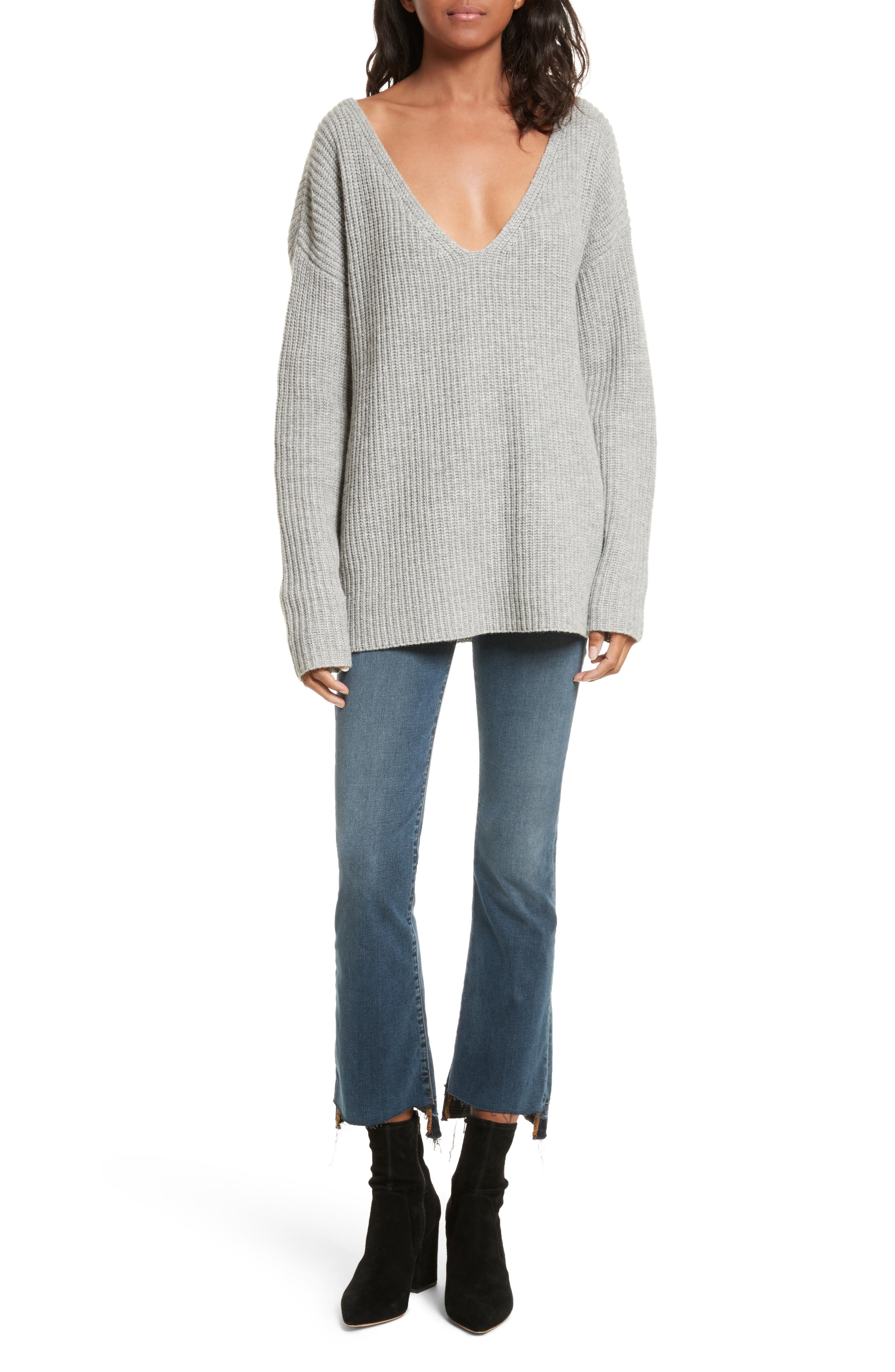 Oversize V-Neck Sweater,                             Alternate thumbnail 2, color,                             Gris