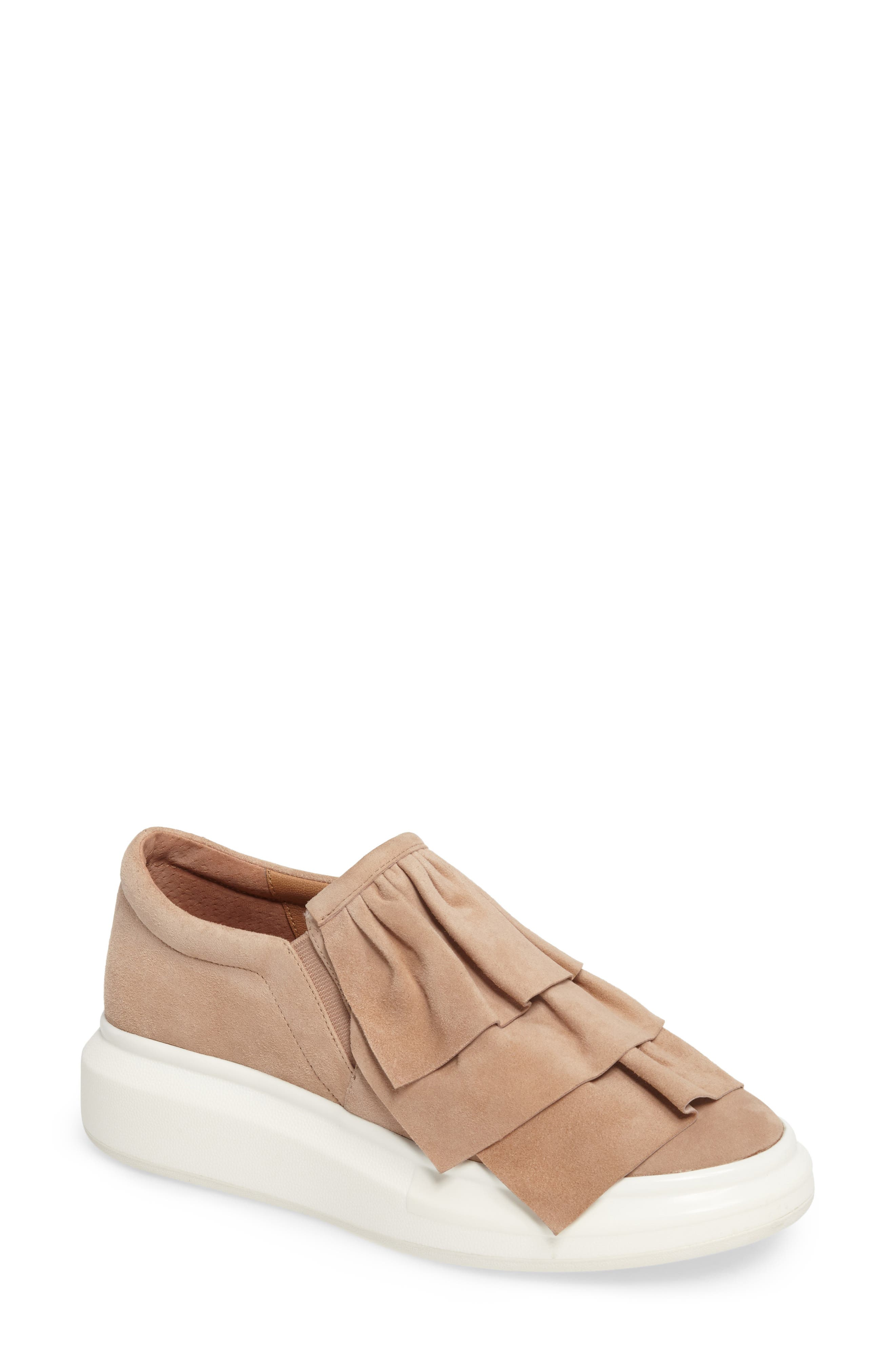 Lolo Ruffle Slip-On,                             Main thumbnail 1, color,                             Dusty Rose Suede