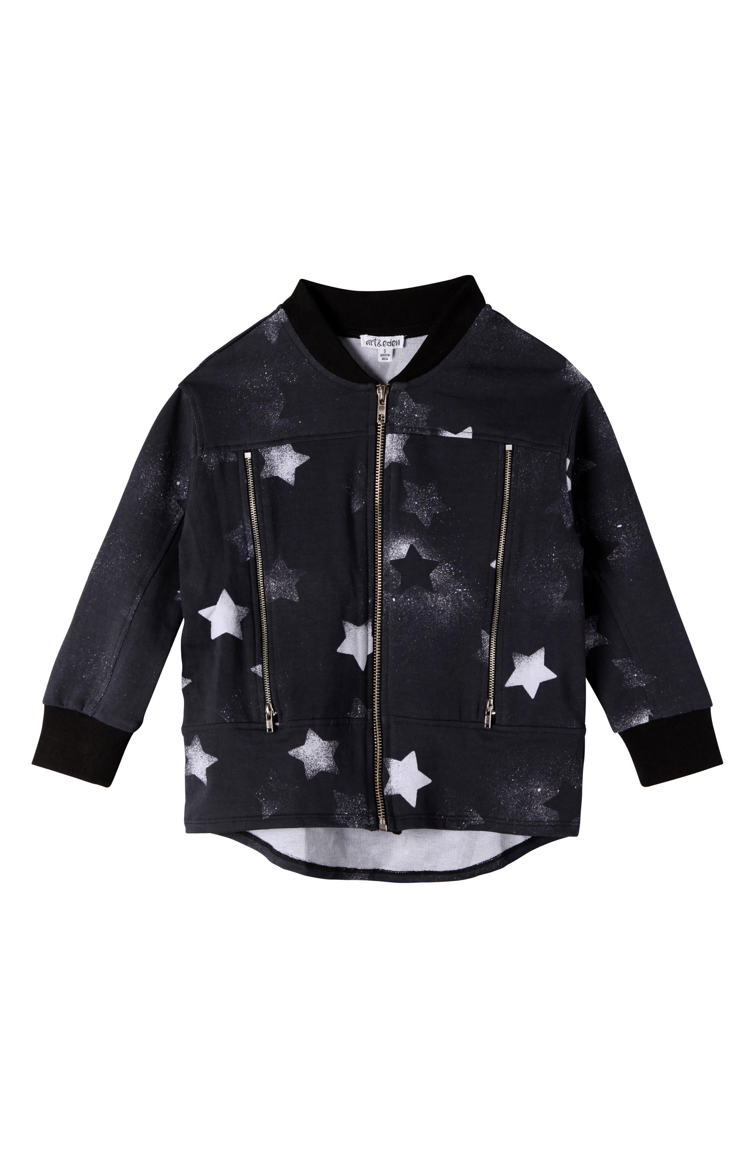 Camilla Star Print Bomber Jacket,                         Main,                         color, Black