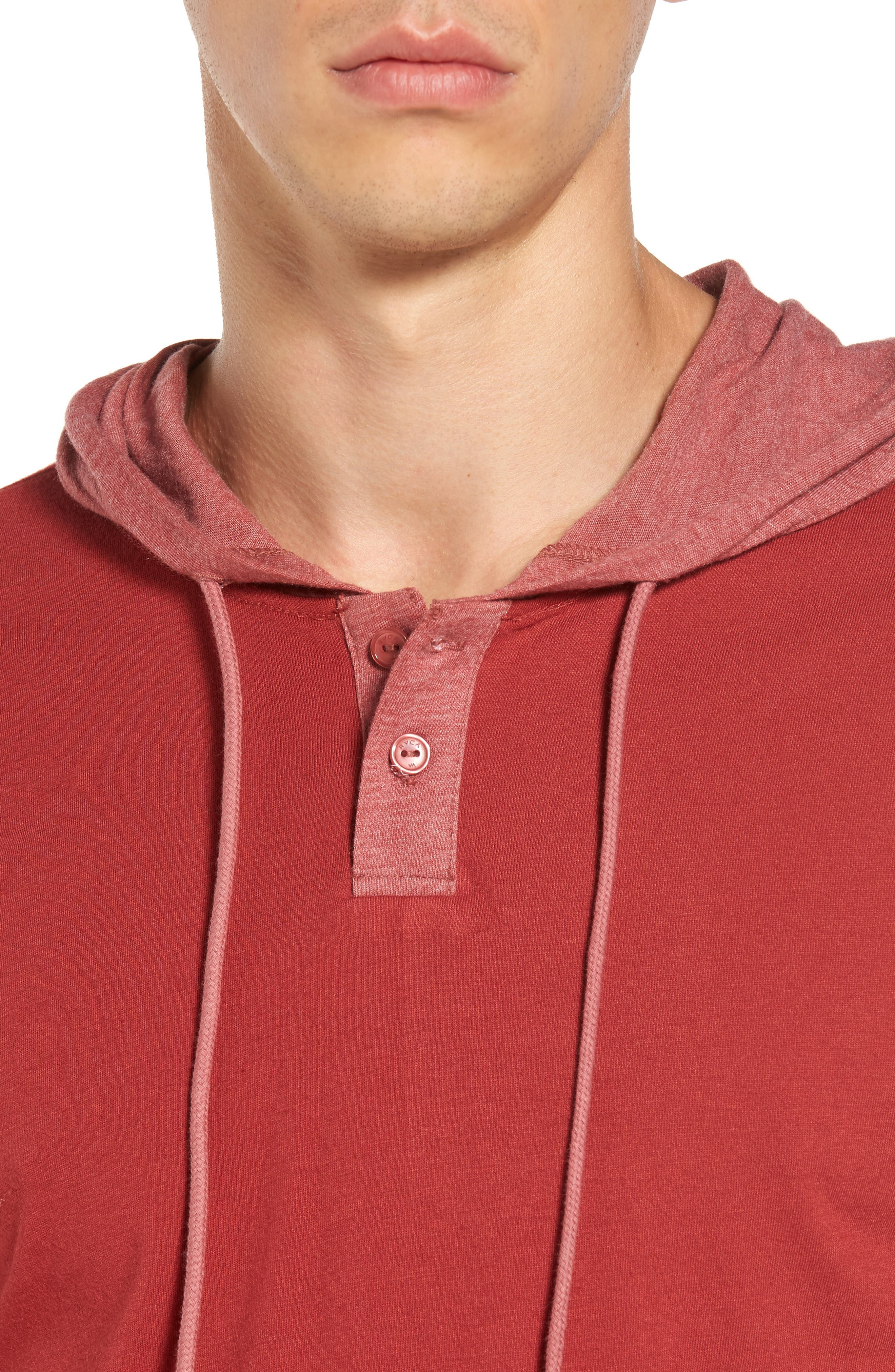 Pick Up Hooded Henley Sweatshirt,                             Alternate thumbnail 4, color,                             Rosewood