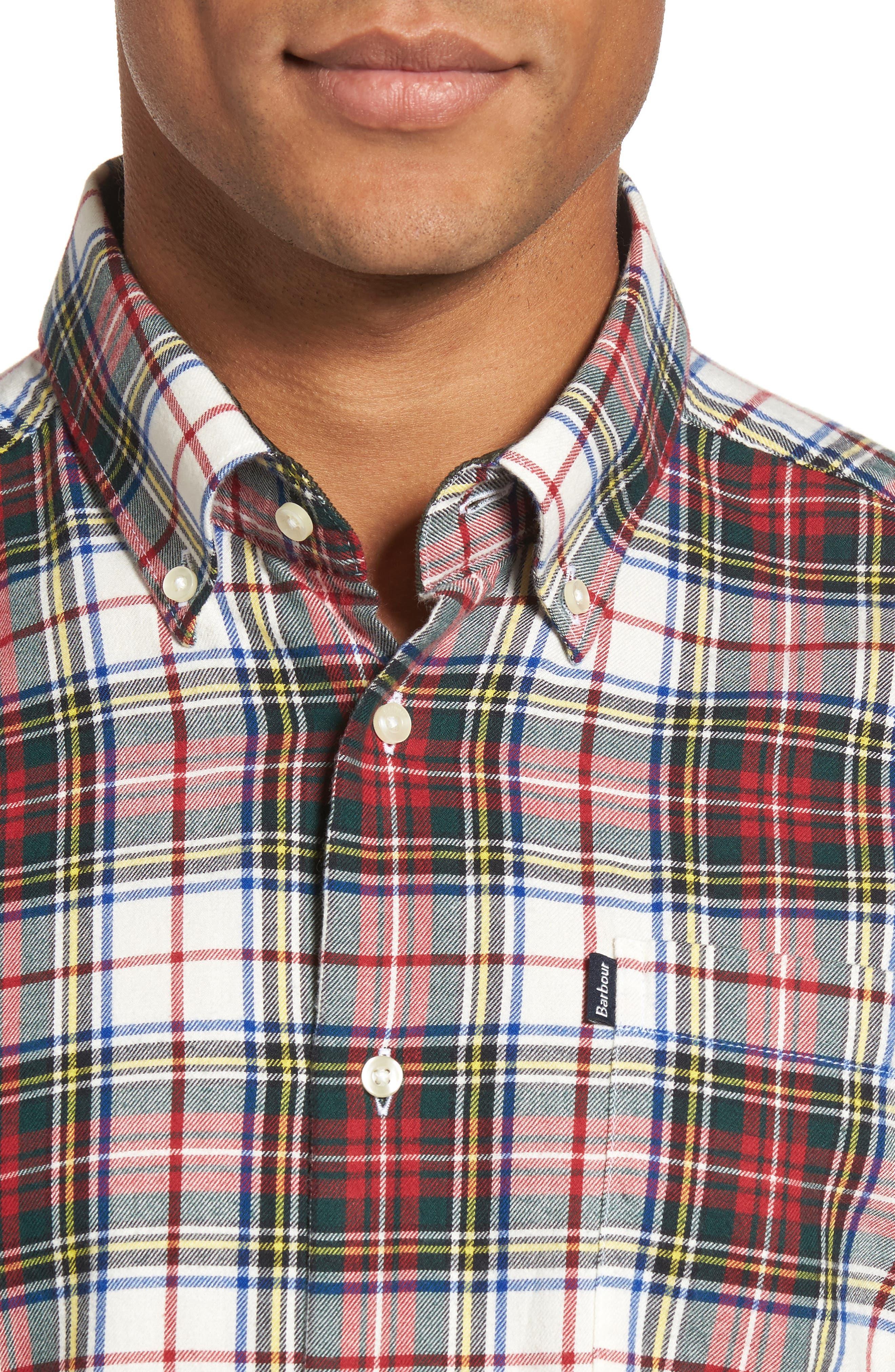 Alvin Tailored Fit Plaid Sport Shirt,                             Alternate thumbnail 4, color,                             White
