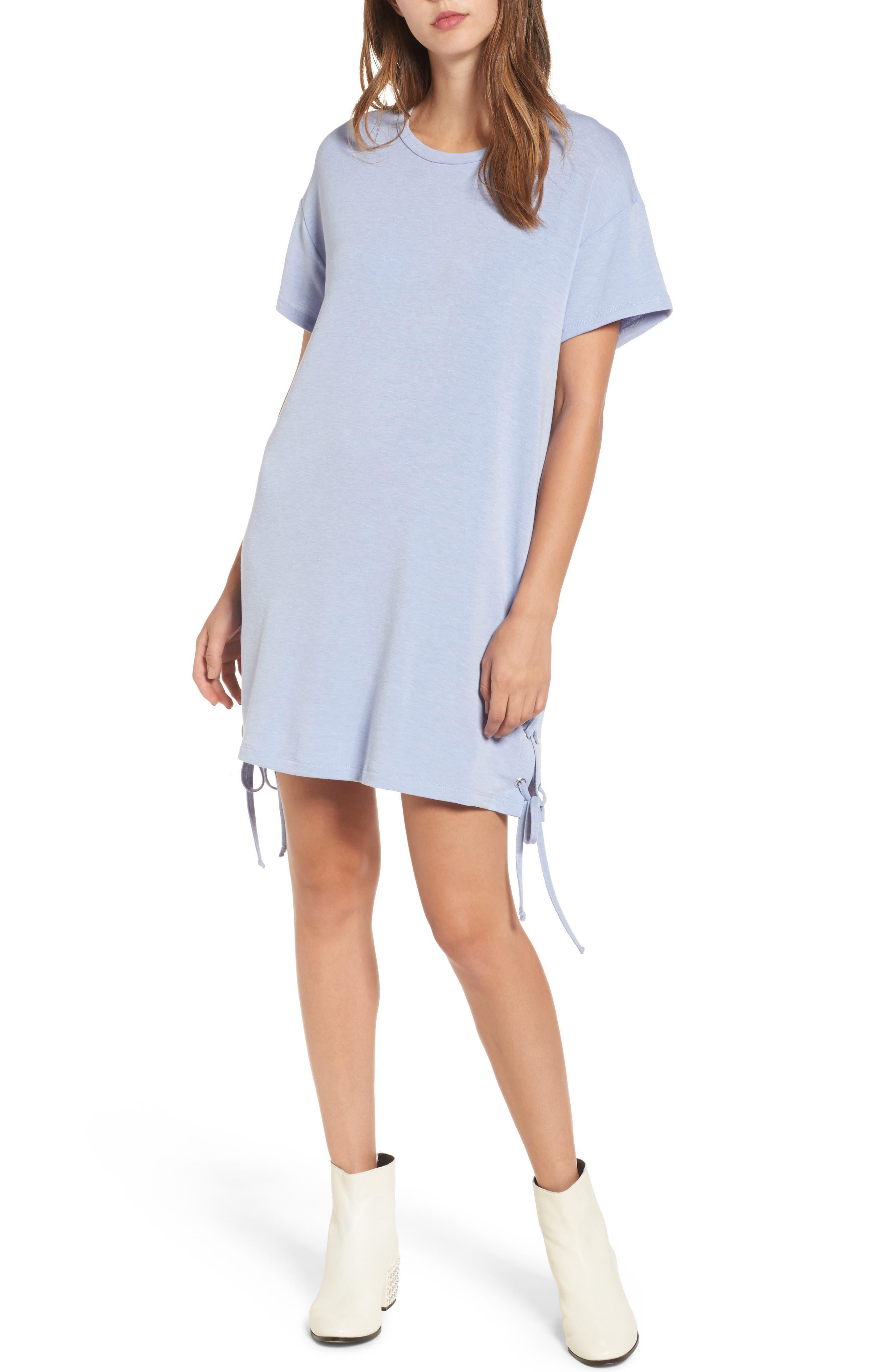 Lace-Up Side T-Shirt Dress,                         Main,                         color, Periwinkle