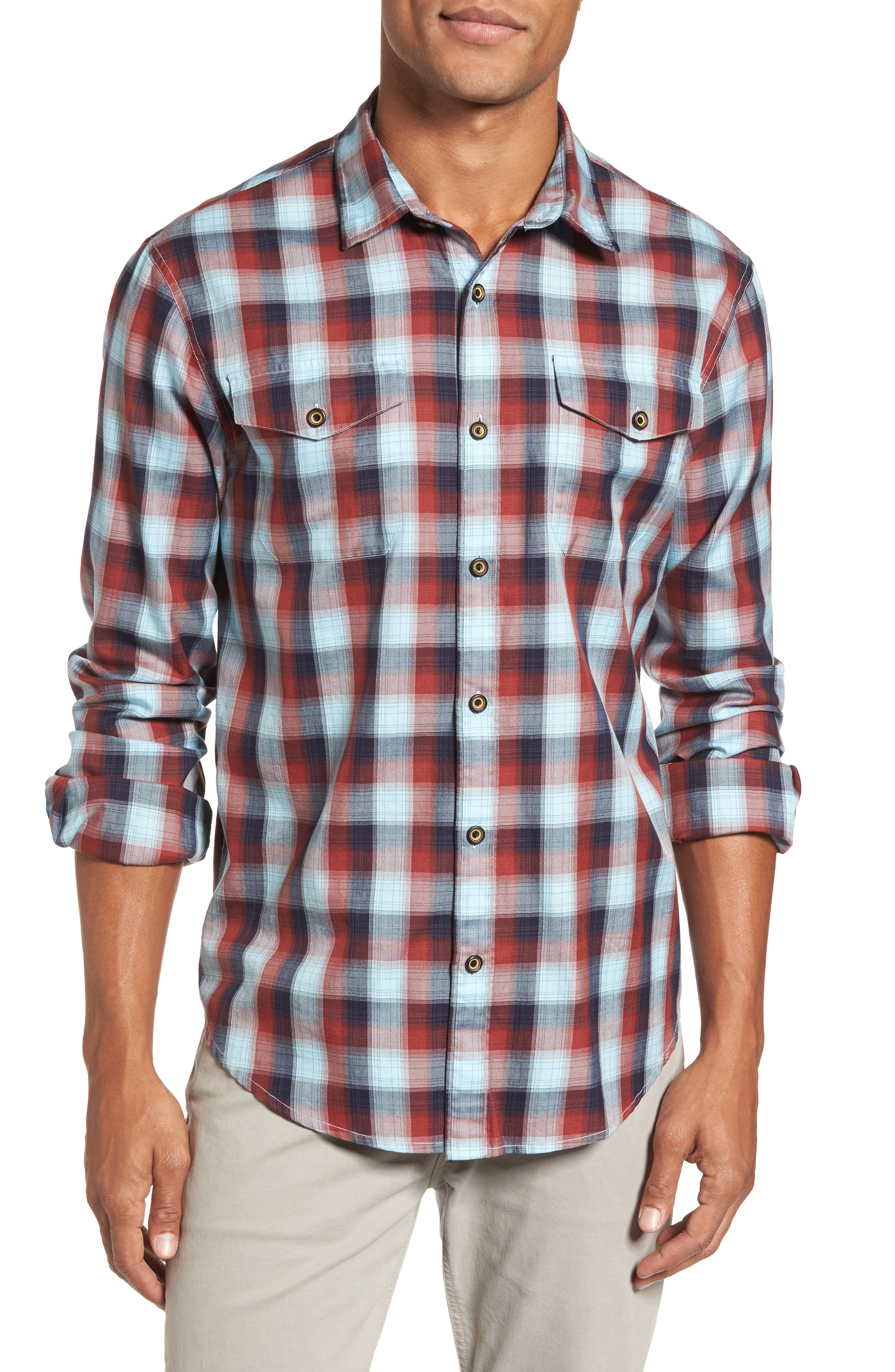 Redford Check Flannel Shirt,                         Main,                         color, Pumpkin