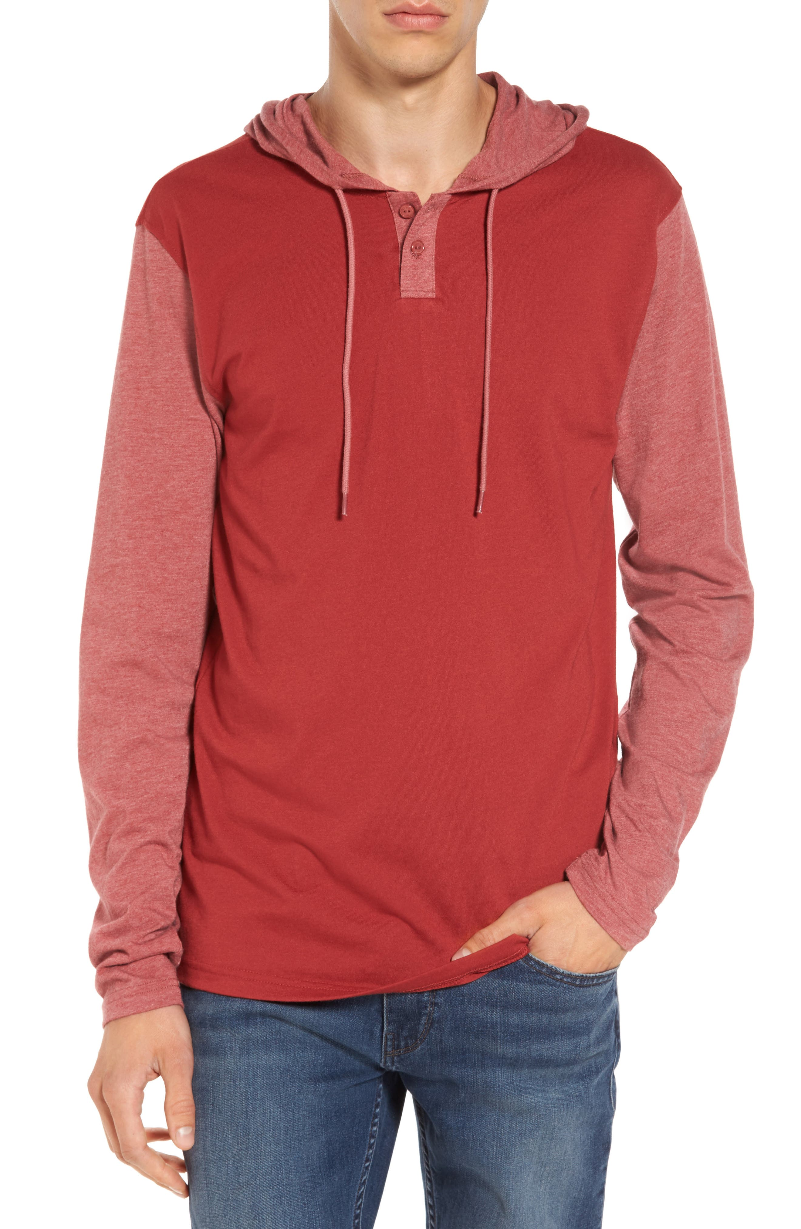 Pick Up Hooded Henley Sweatshirt,                         Main,                         color, Rosewood