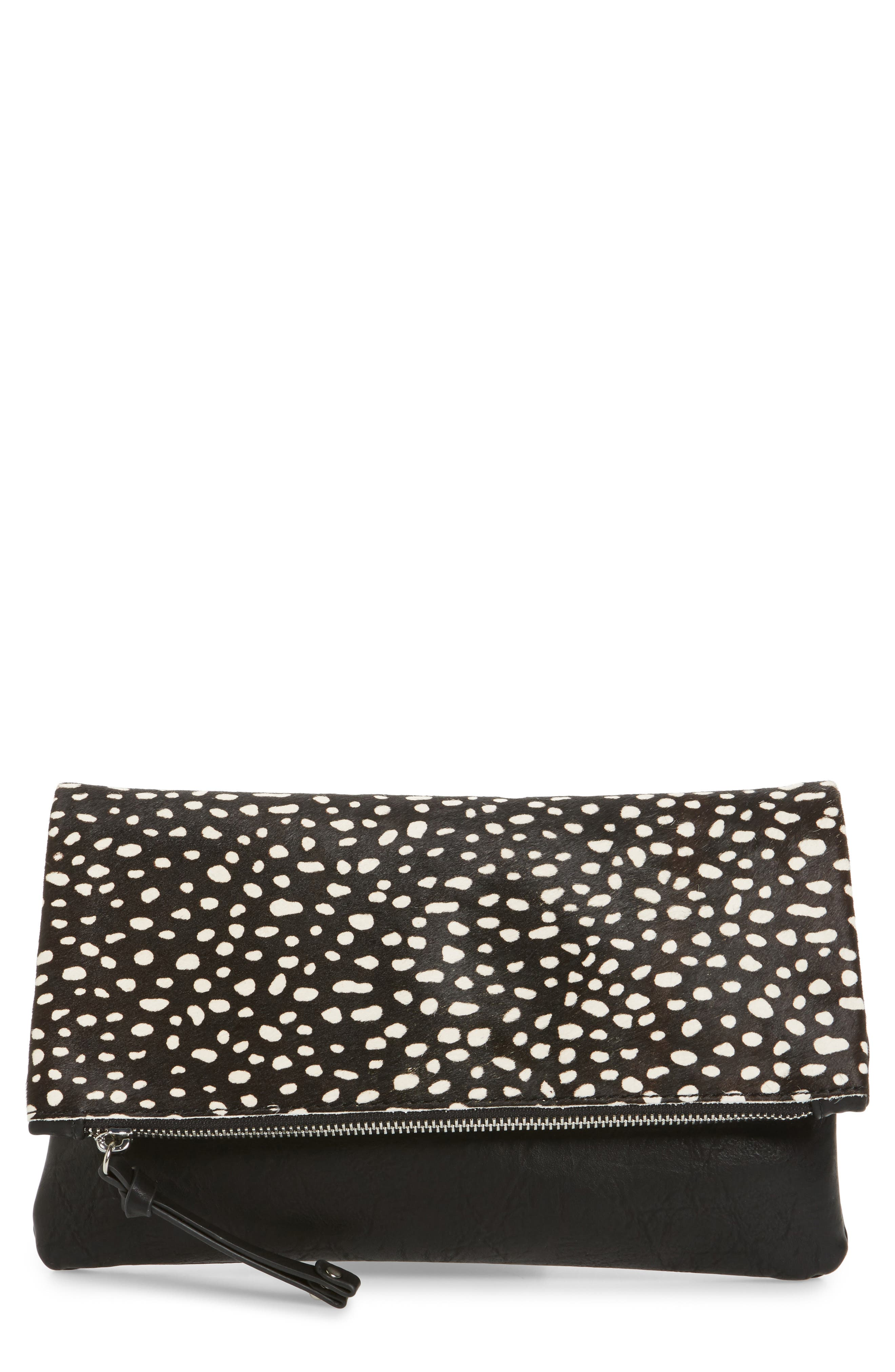 Main Image - Sole Society 'Marlena' Faux Leather Foldover Clutch
