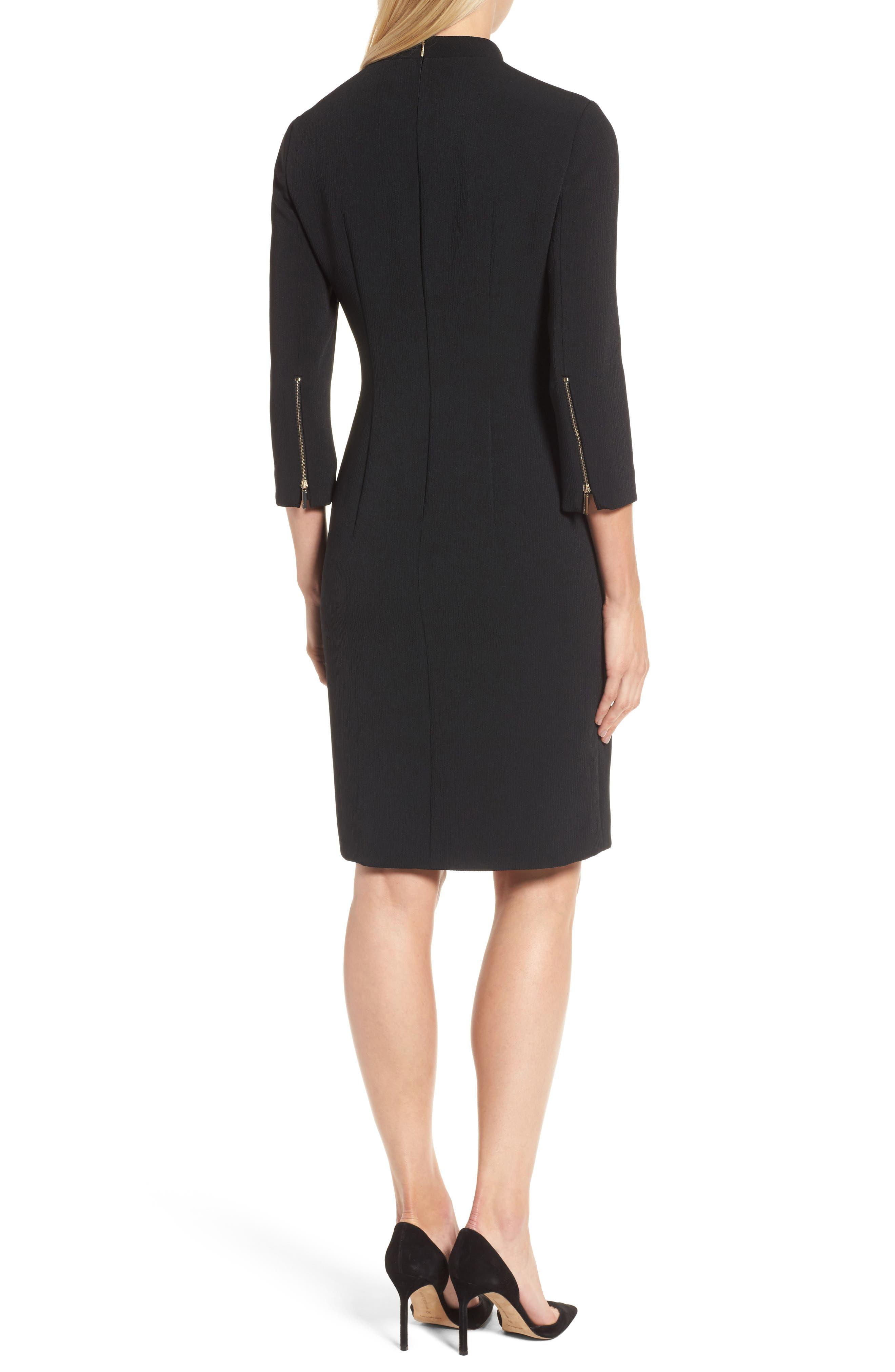 Dadena Crepe Sheath Dress,                             Alternate thumbnail 2, color,                             Black
