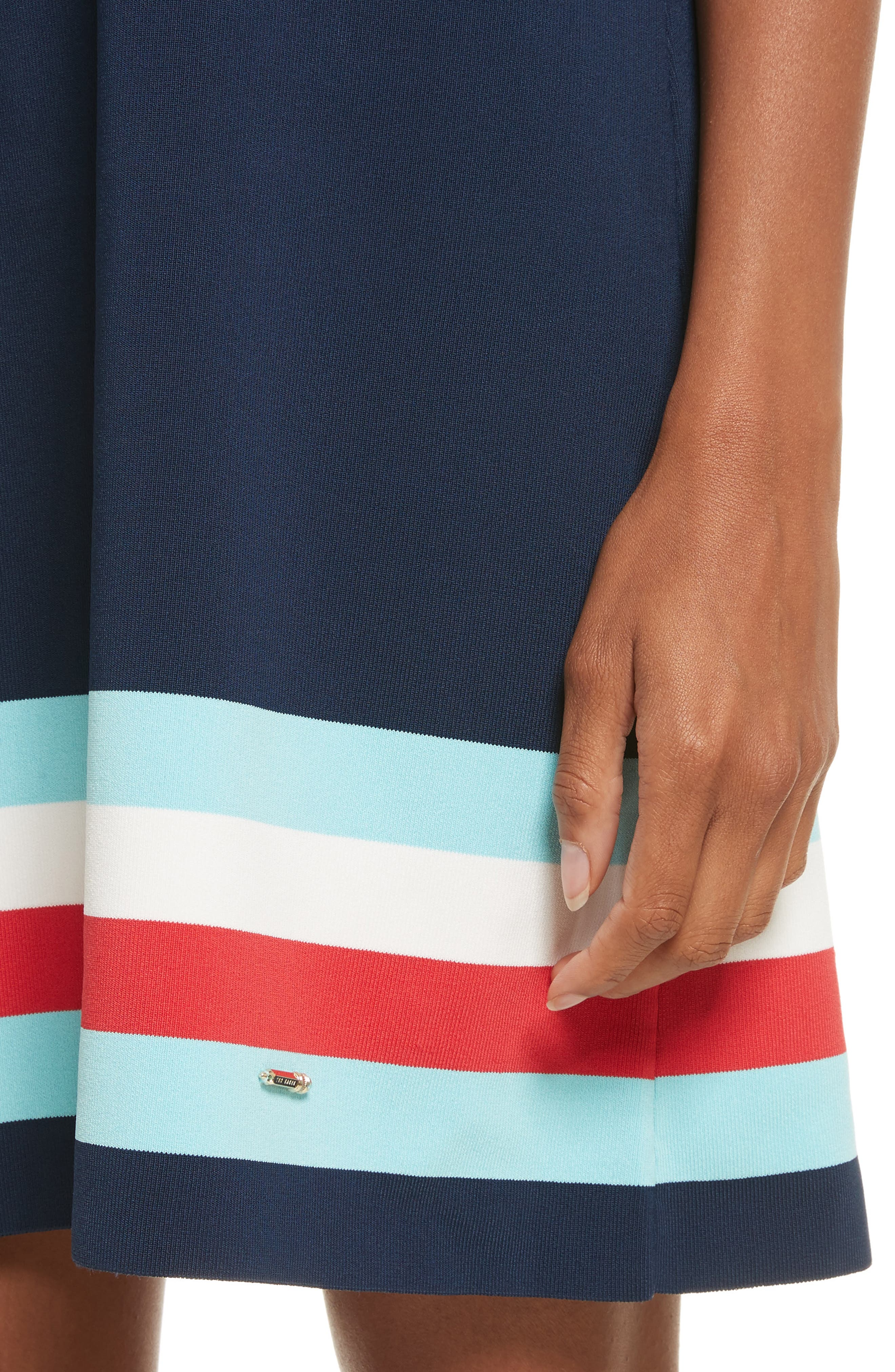 Origami Stripe Knit Dress,                             Alternate thumbnail 4, color,                             Dark Blue
