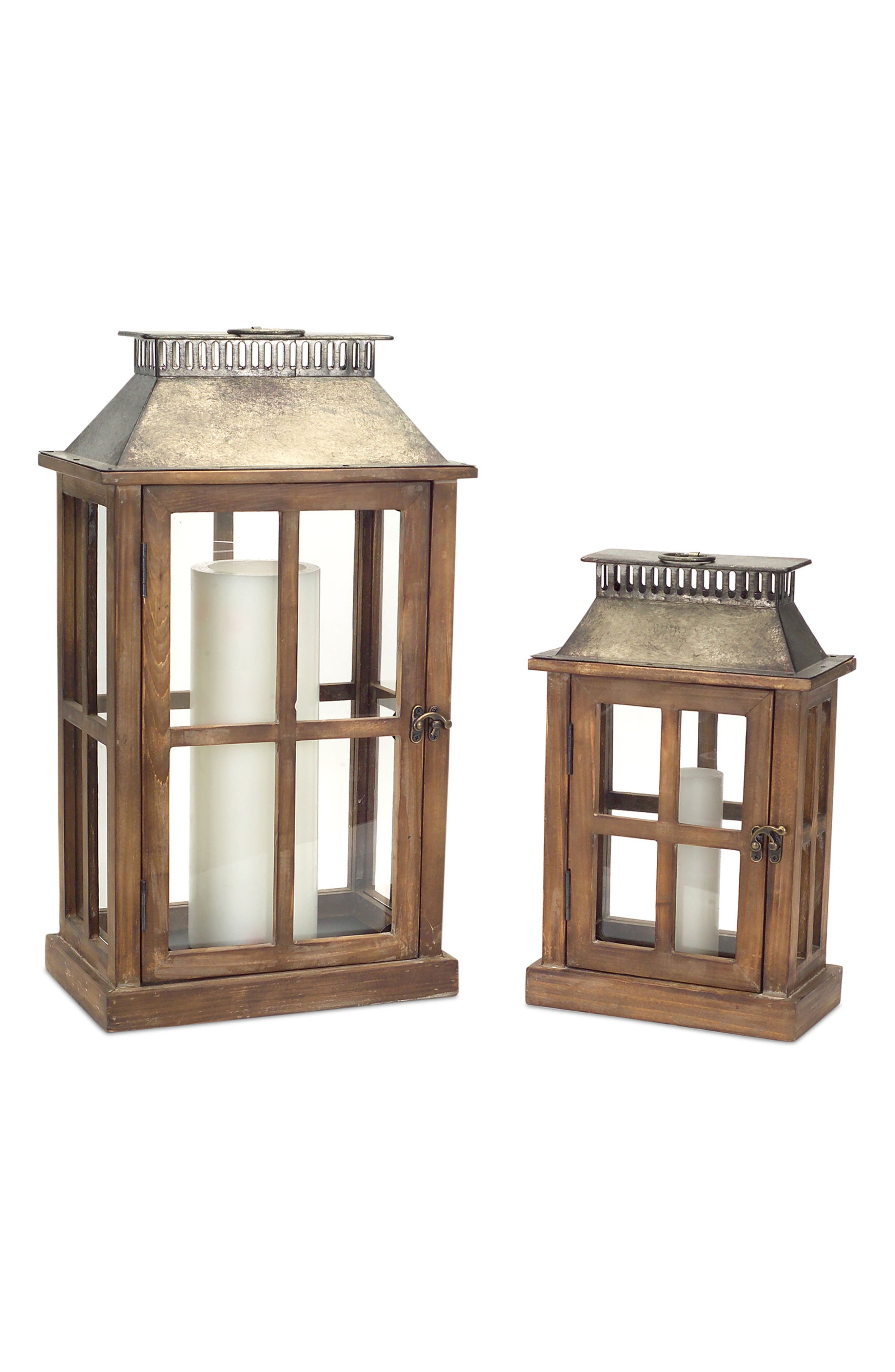 Set of 2 Decorative Lanterns,                         Main,                         color, Brown