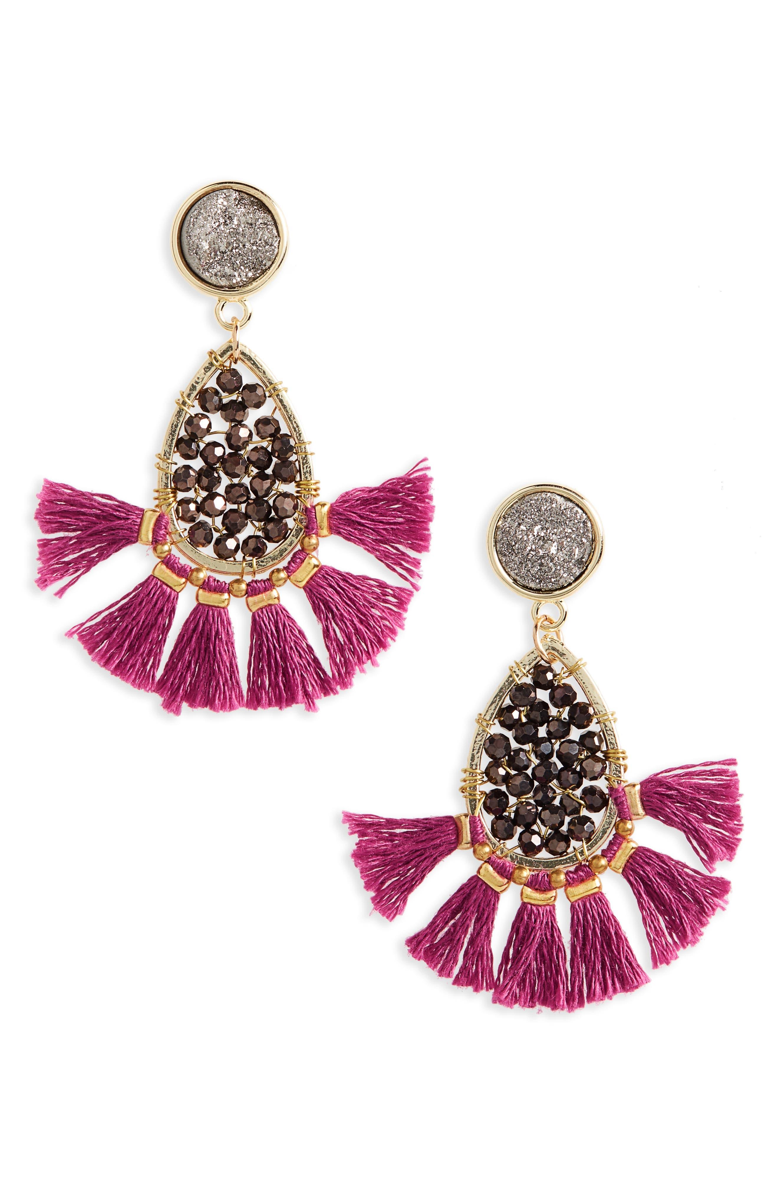 Main Image - Panacea Drusy Tassel Drop Earrings