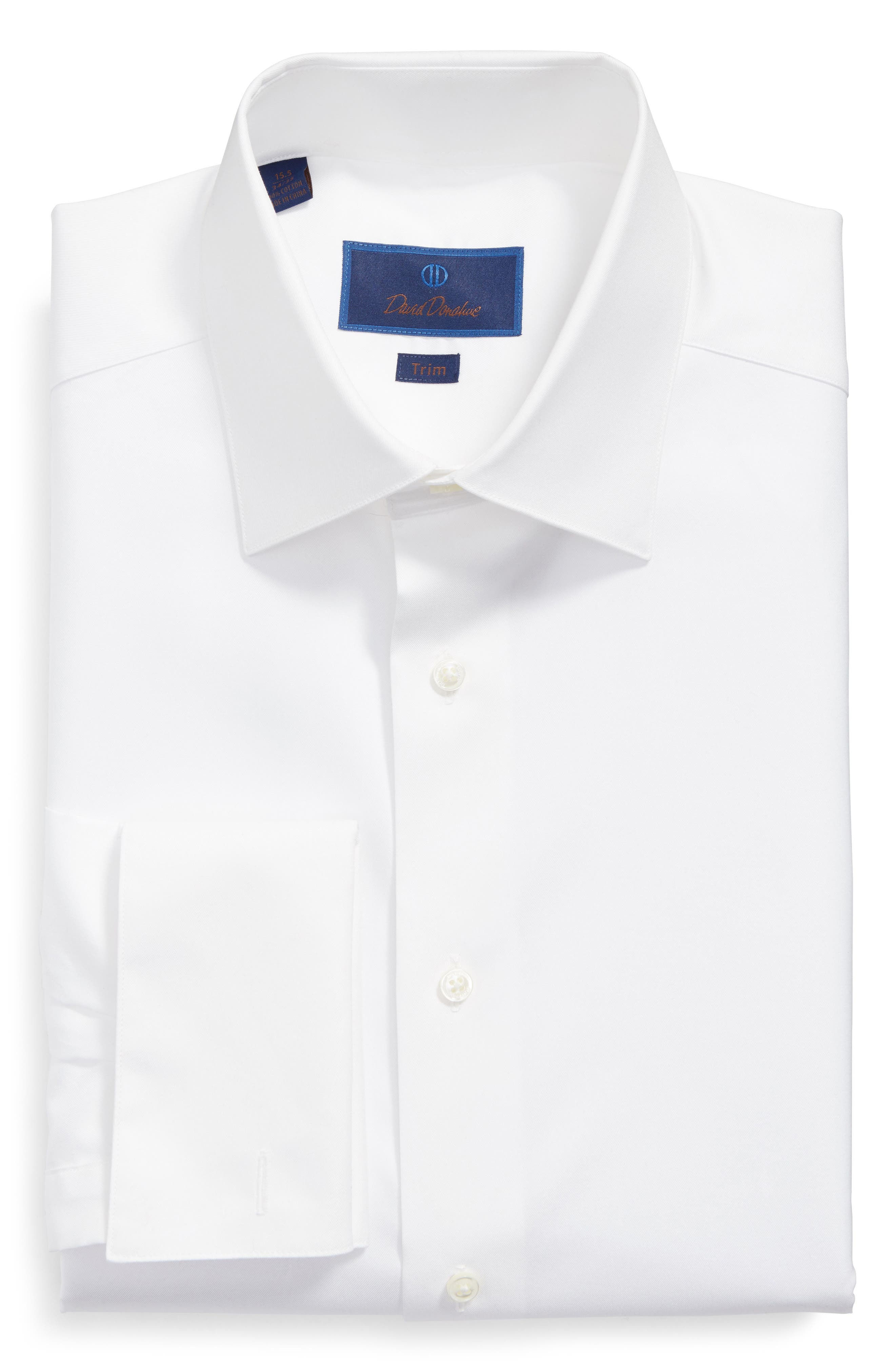 David Donahue Trim Fit Tuxedo Shirt
