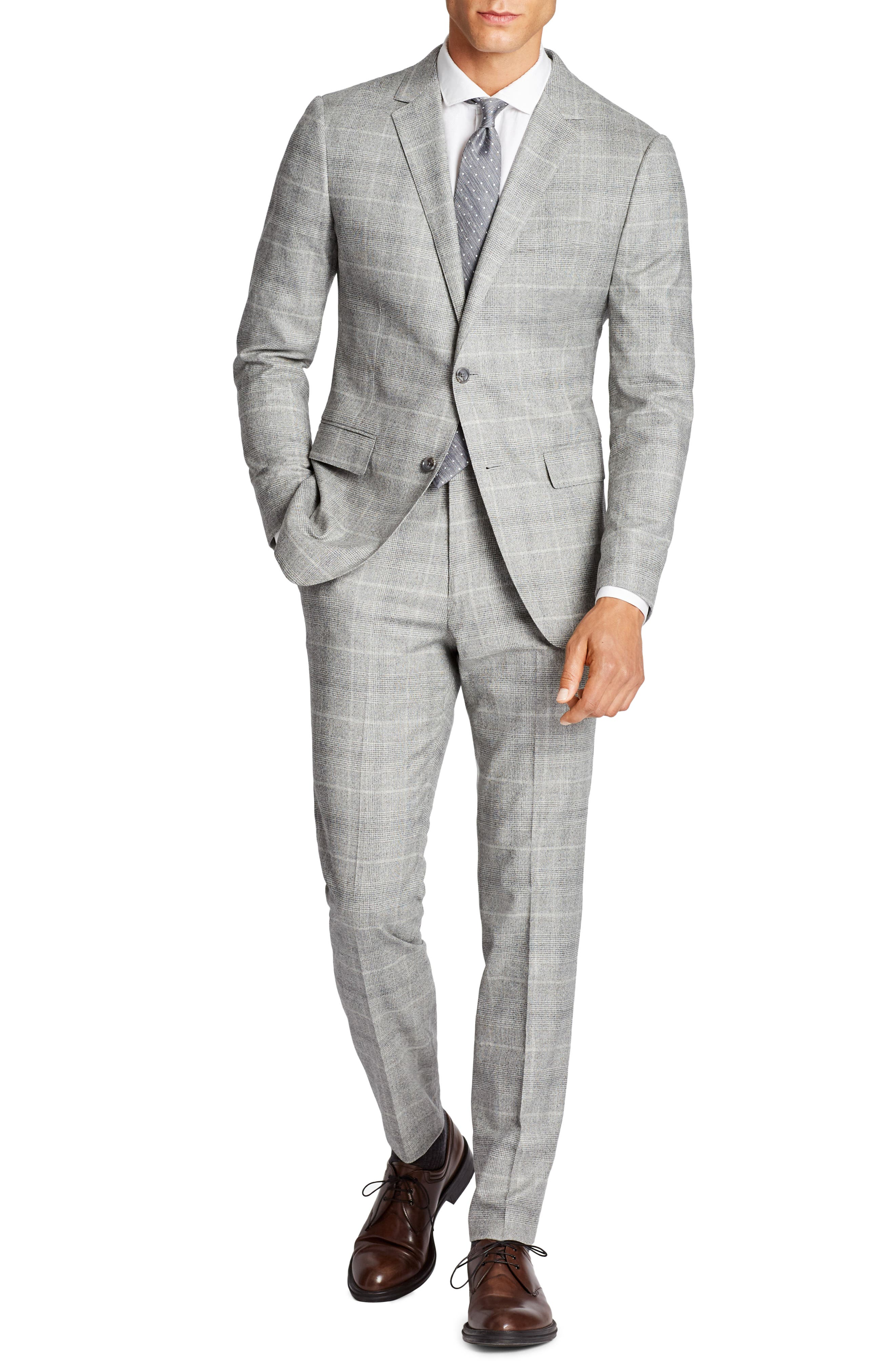Jetsetter Slim Fit Plaid Stretch Wool Sport Coat,                             Alternate thumbnail 3, color,                             Light Grey Flannel
