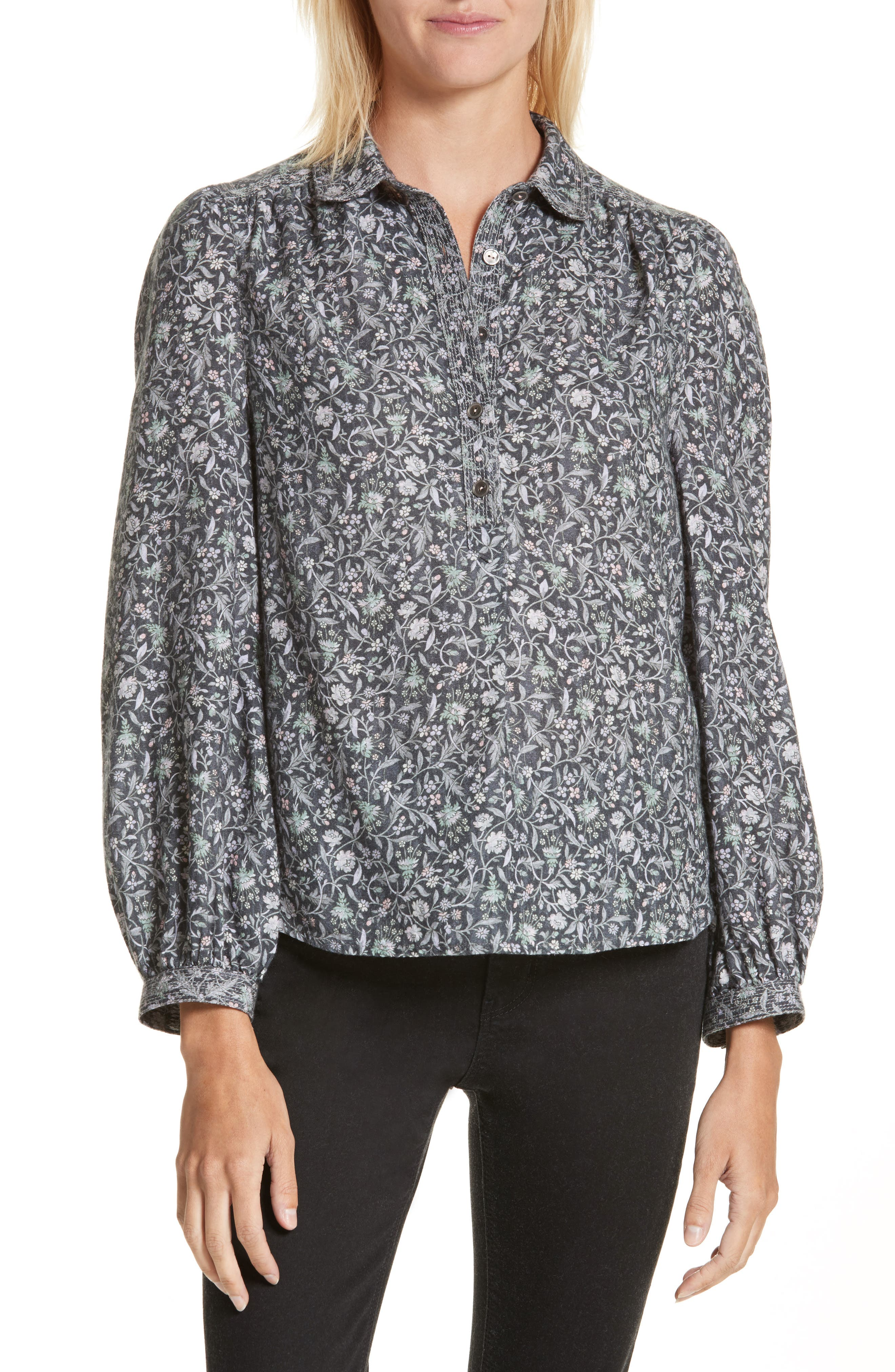 Adeline Long Sleeve Blouse,                         Main,                         color, Washed Black Combo