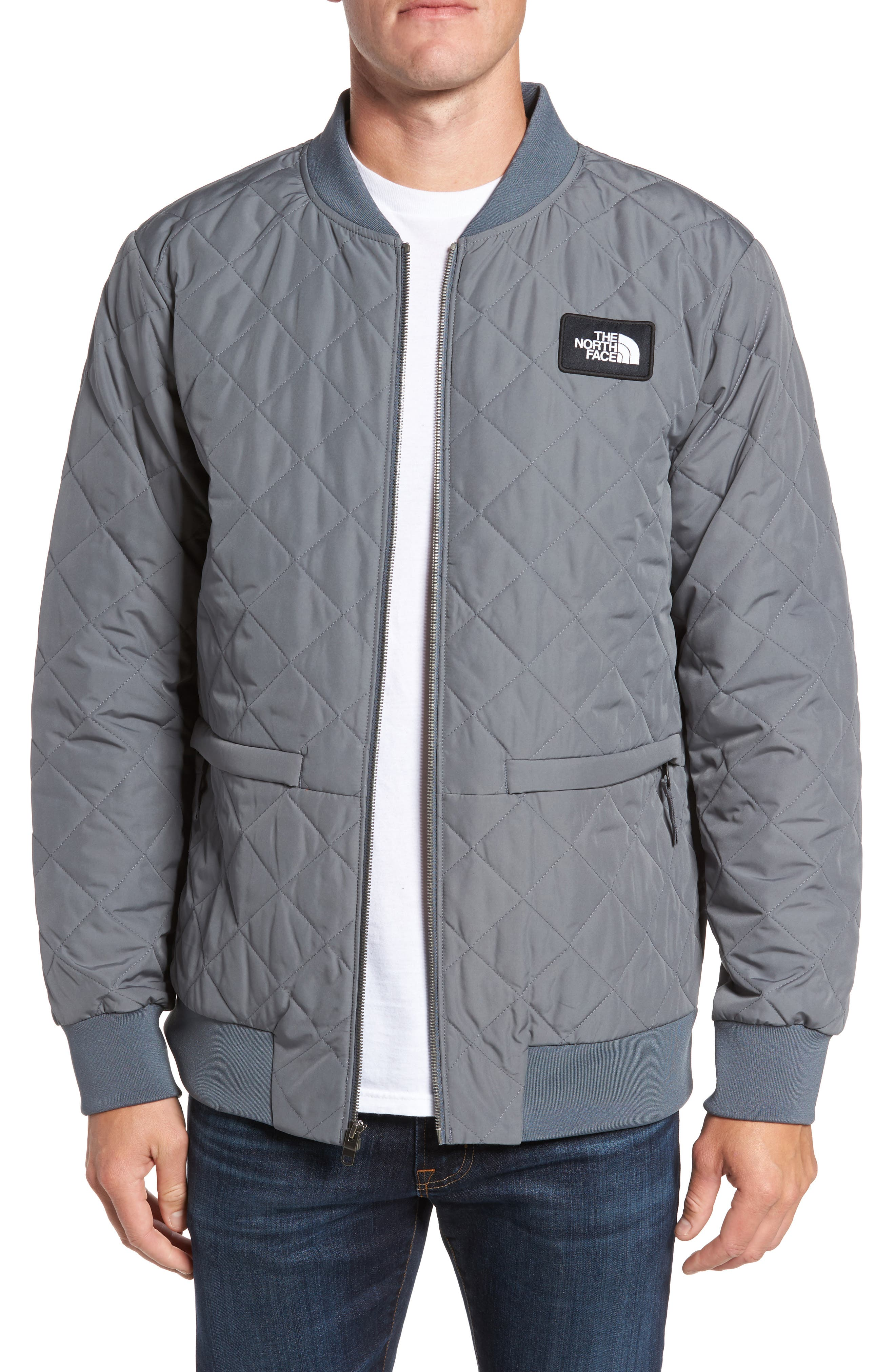 Distributor Quilted Bomber Jacket,                         Main,                         color, Grey