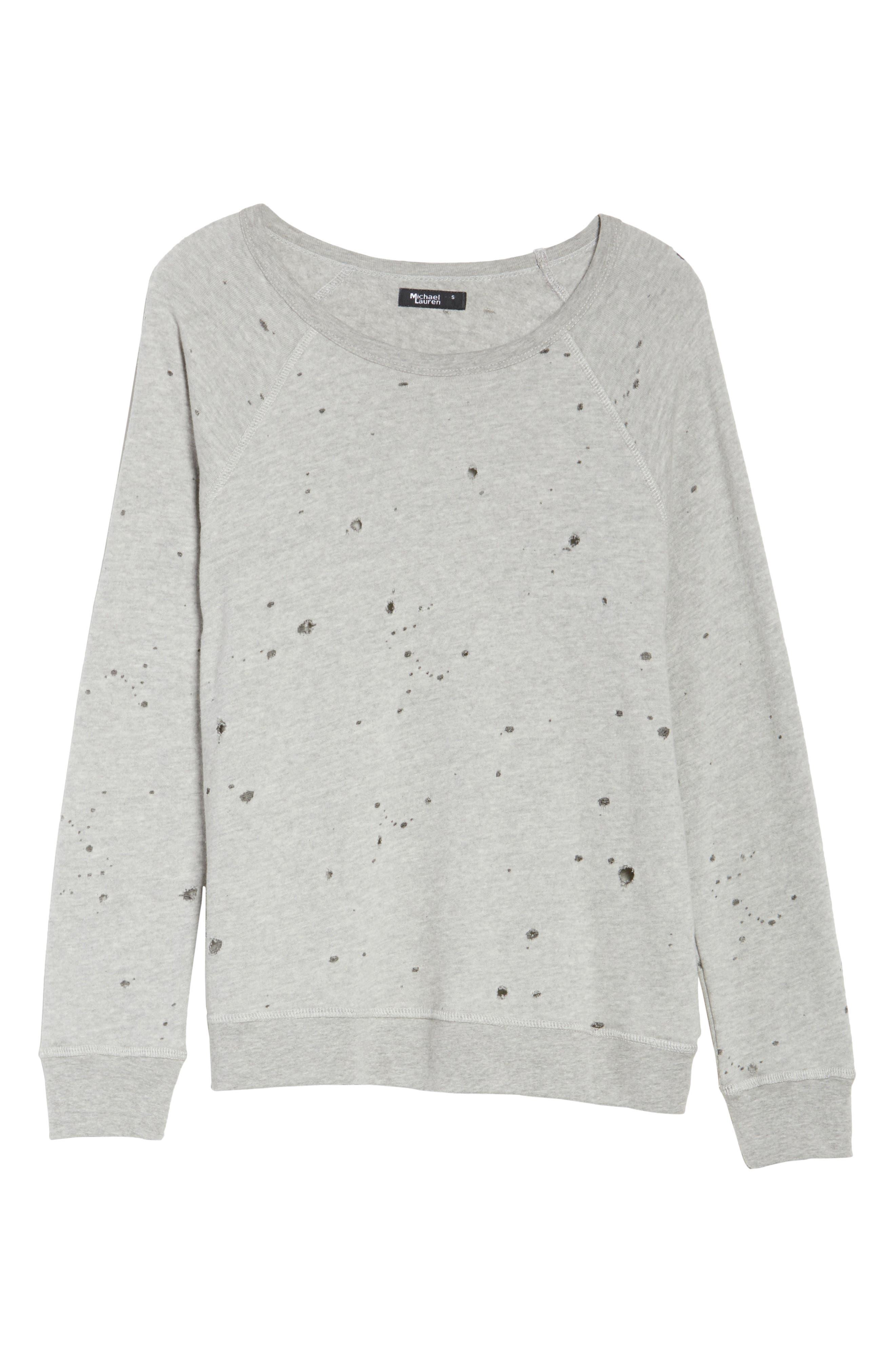 Destroyed Lounge Sweatshirt,                             Alternate thumbnail 6, color,                             Heather Grey