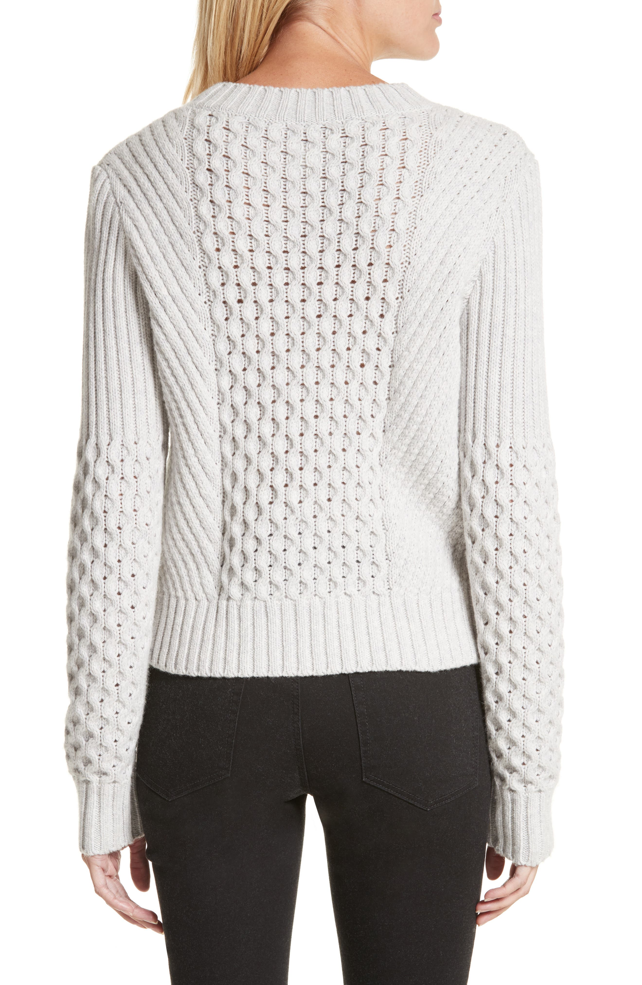 Honeycomb Stitch Sweater,                             Alternate thumbnail 2, color,                             Light Grey Heather