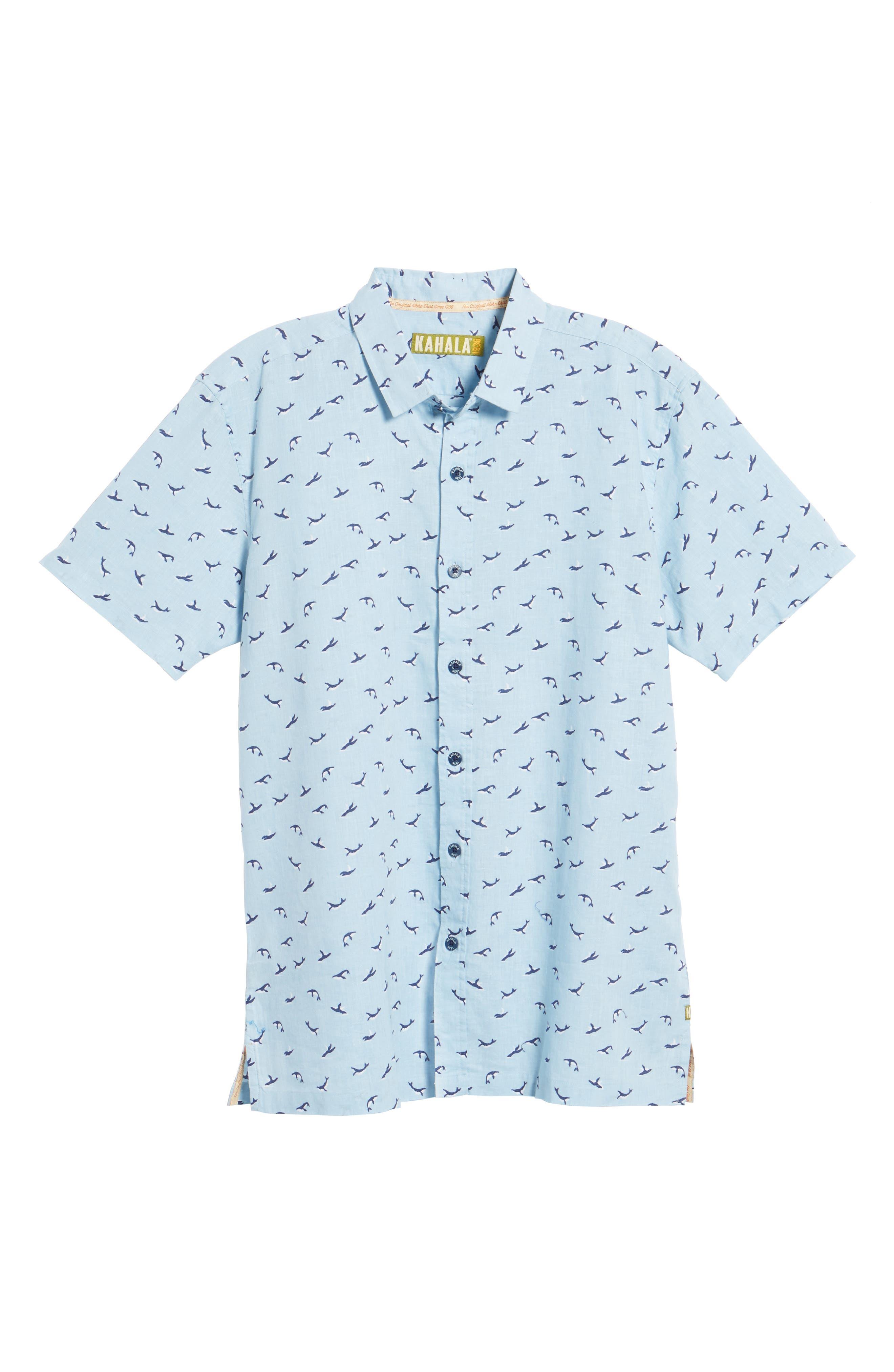 Winter Holiday Trim Fit Print Linen & Cotton Sport Shirt,                             Alternate thumbnail 6, color,                             Shore