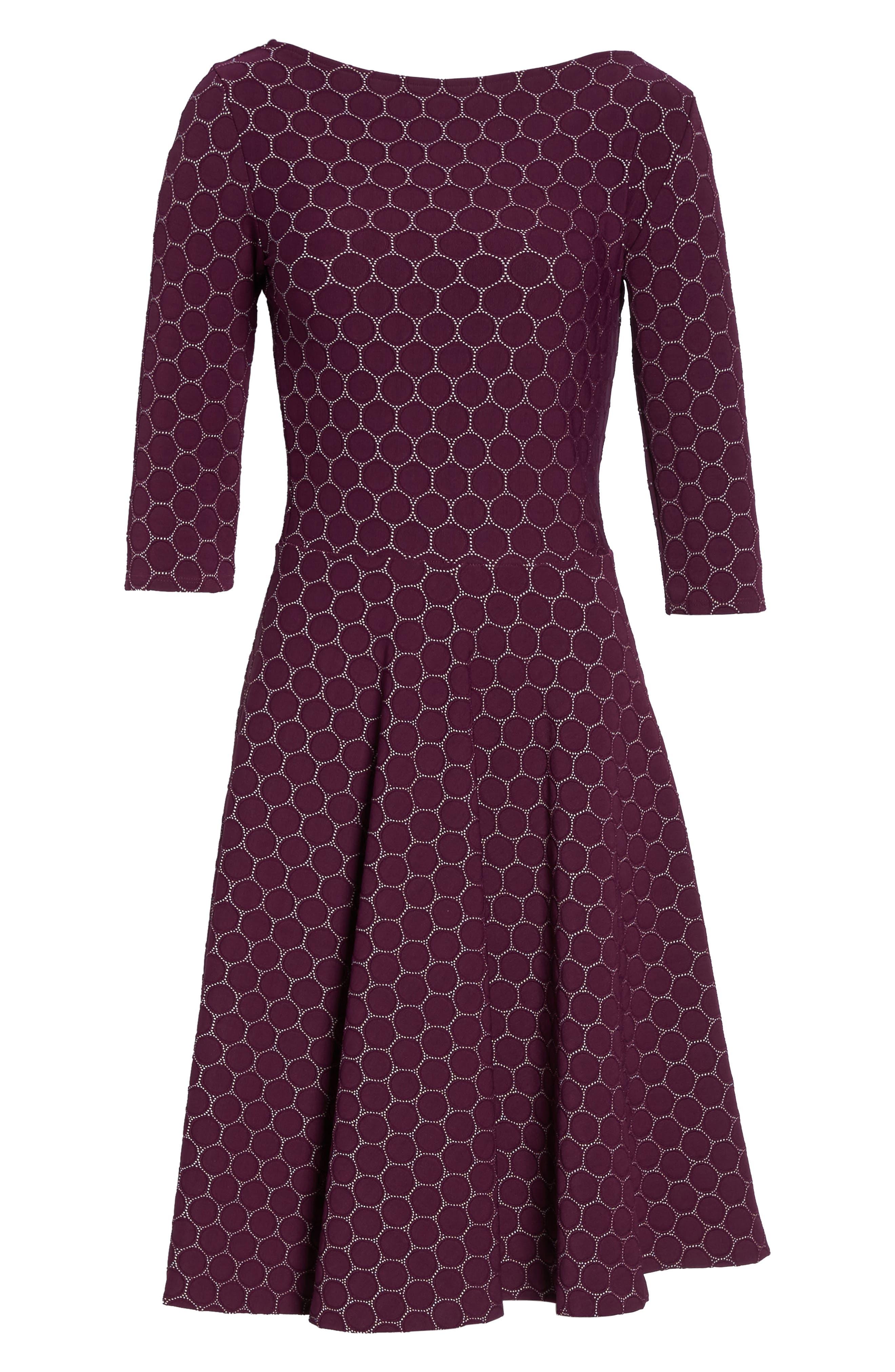 Circle Knit Fit & Flare Dress,                             Alternate thumbnail 6, color,                             Purple