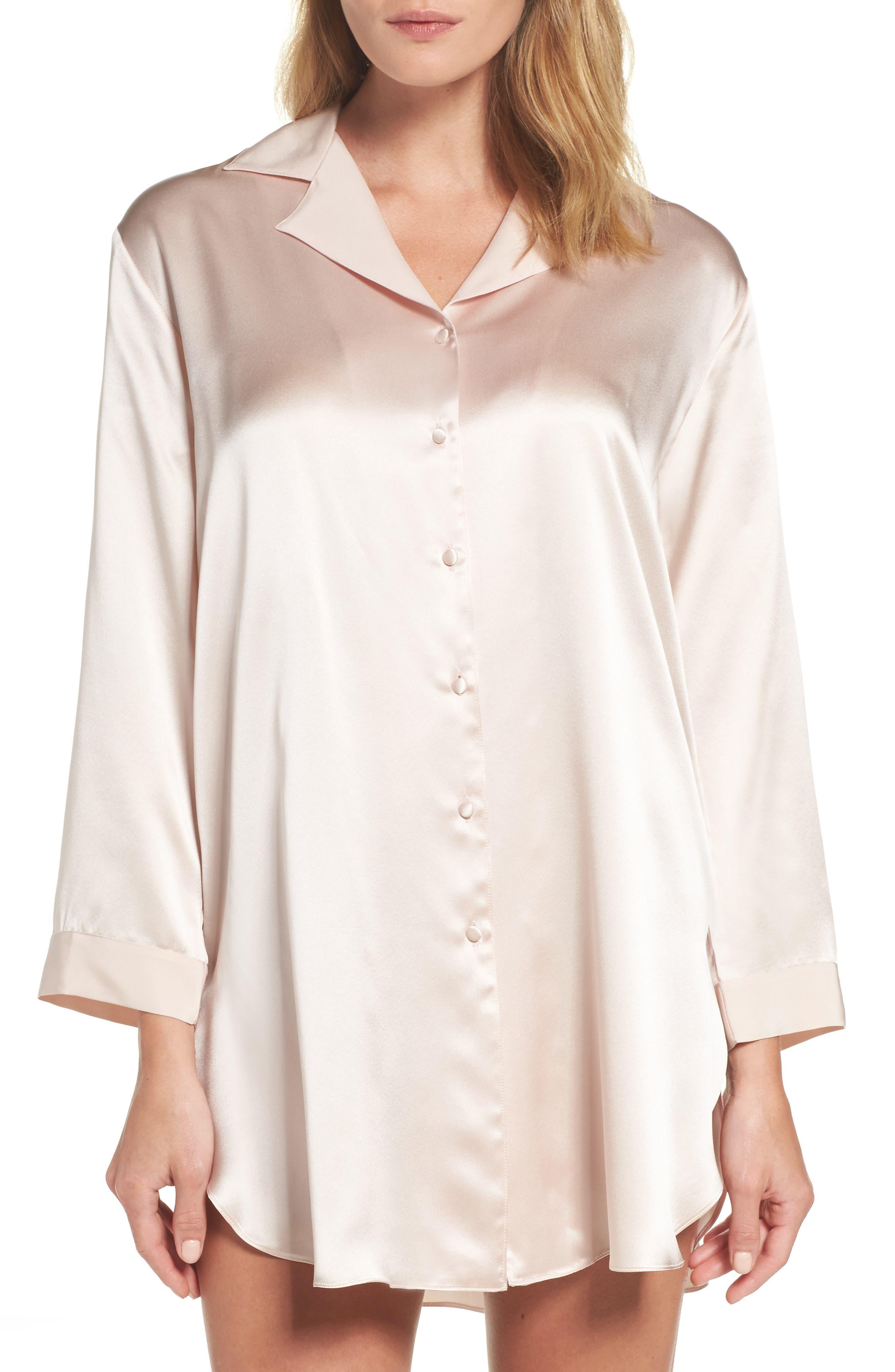 Christine Silk Sleep Shirt,                         Main,                         color, Rose Quartz