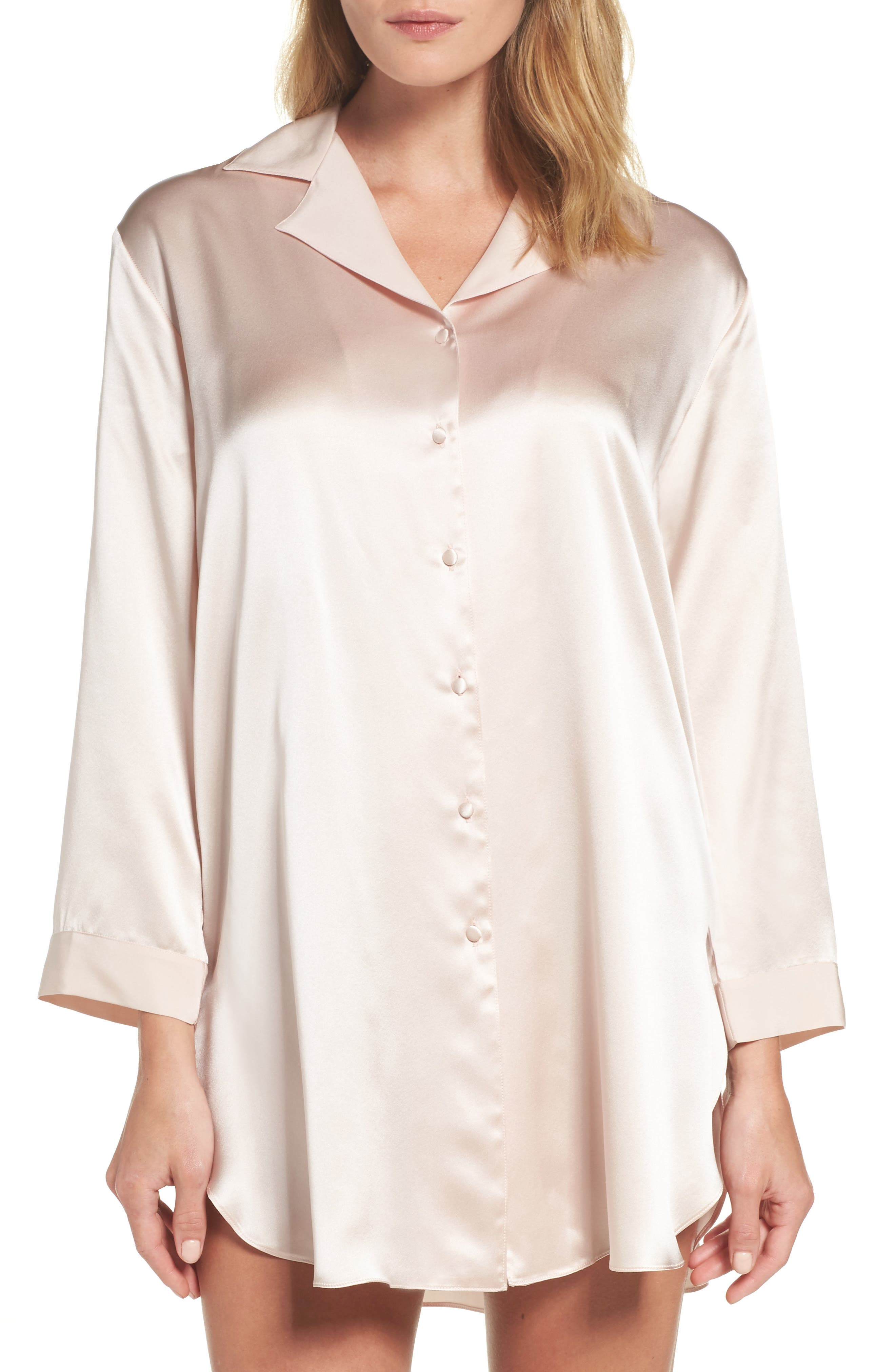 Christine Silk Sleep Shirt,                         Main,                         color, Rose Quartz