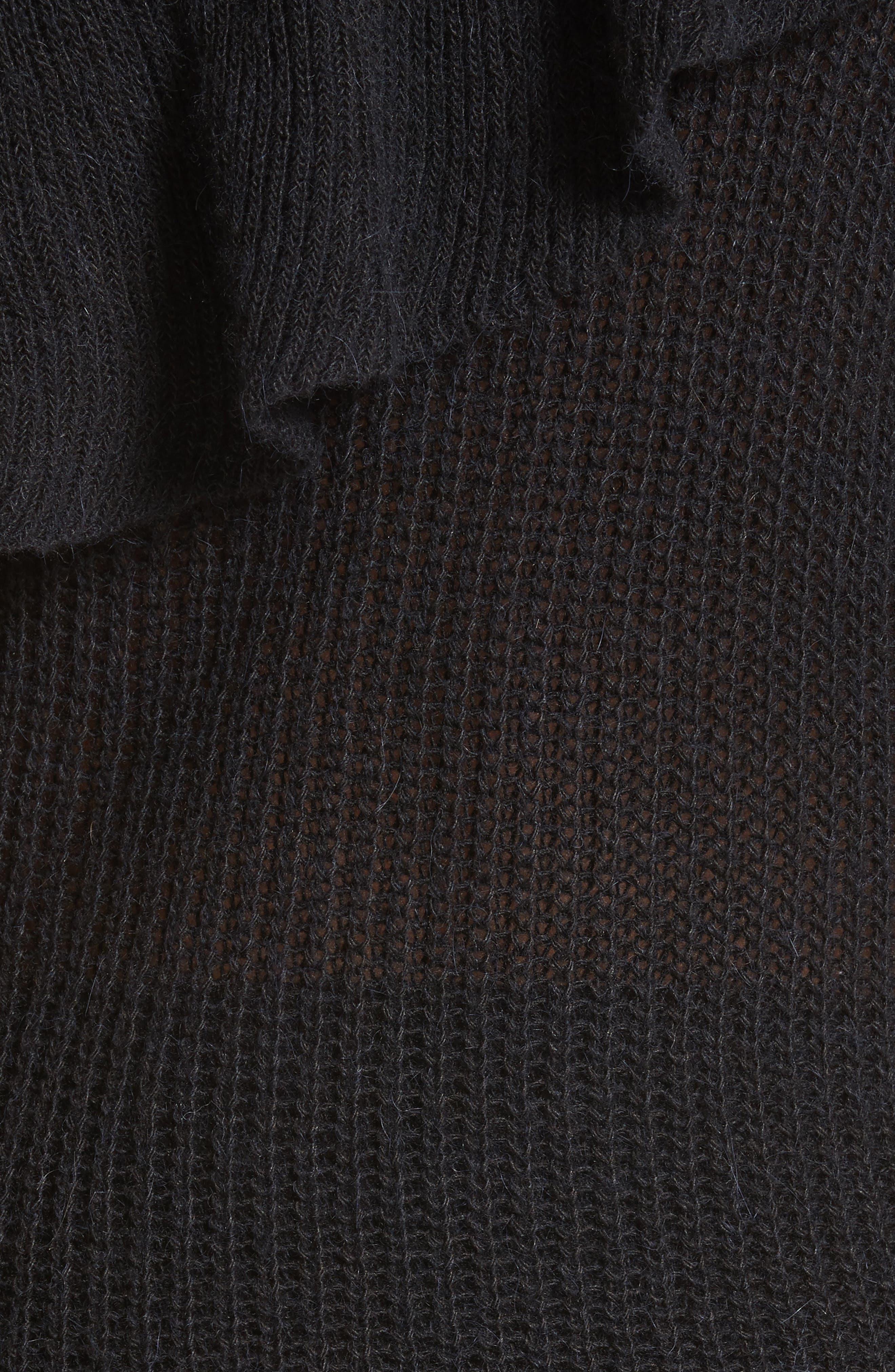 One-Shoulder Ruffle Sweater,                             Alternate thumbnail 5, color,                             Black