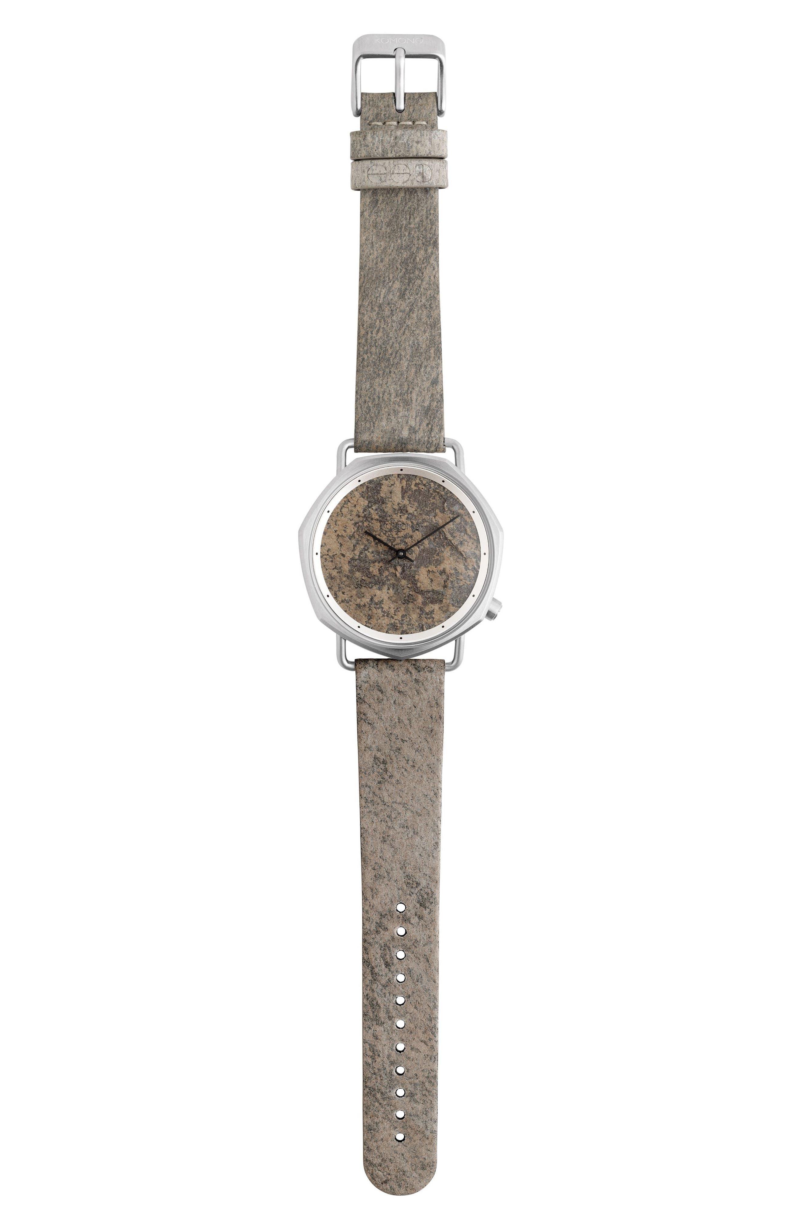 Komono Orson Leather Strap Watch, 40mm