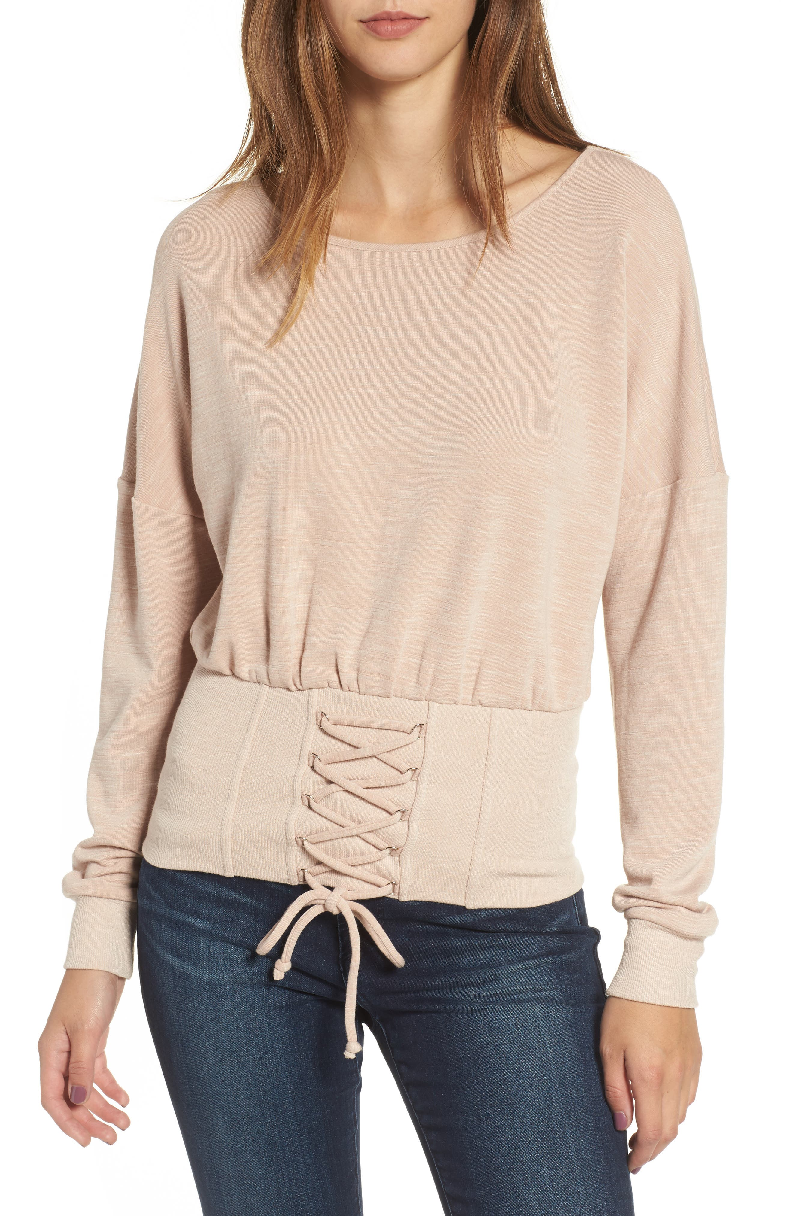 Corset Sweatshirt,                             Main thumbnail 1, color,                             Blush