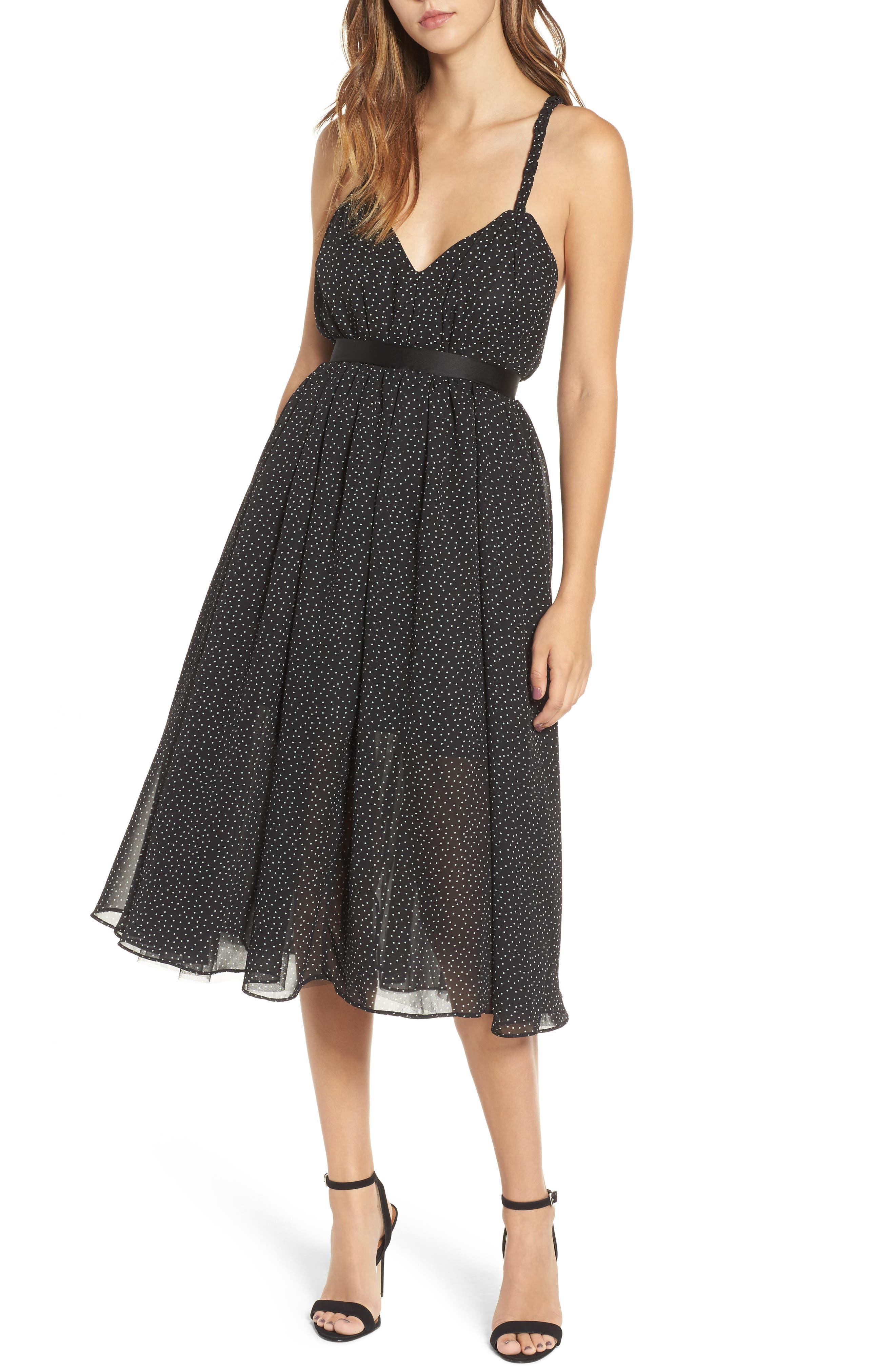 The Marilyn Midi Dress,                         Main,                         color, Black Polka Dots