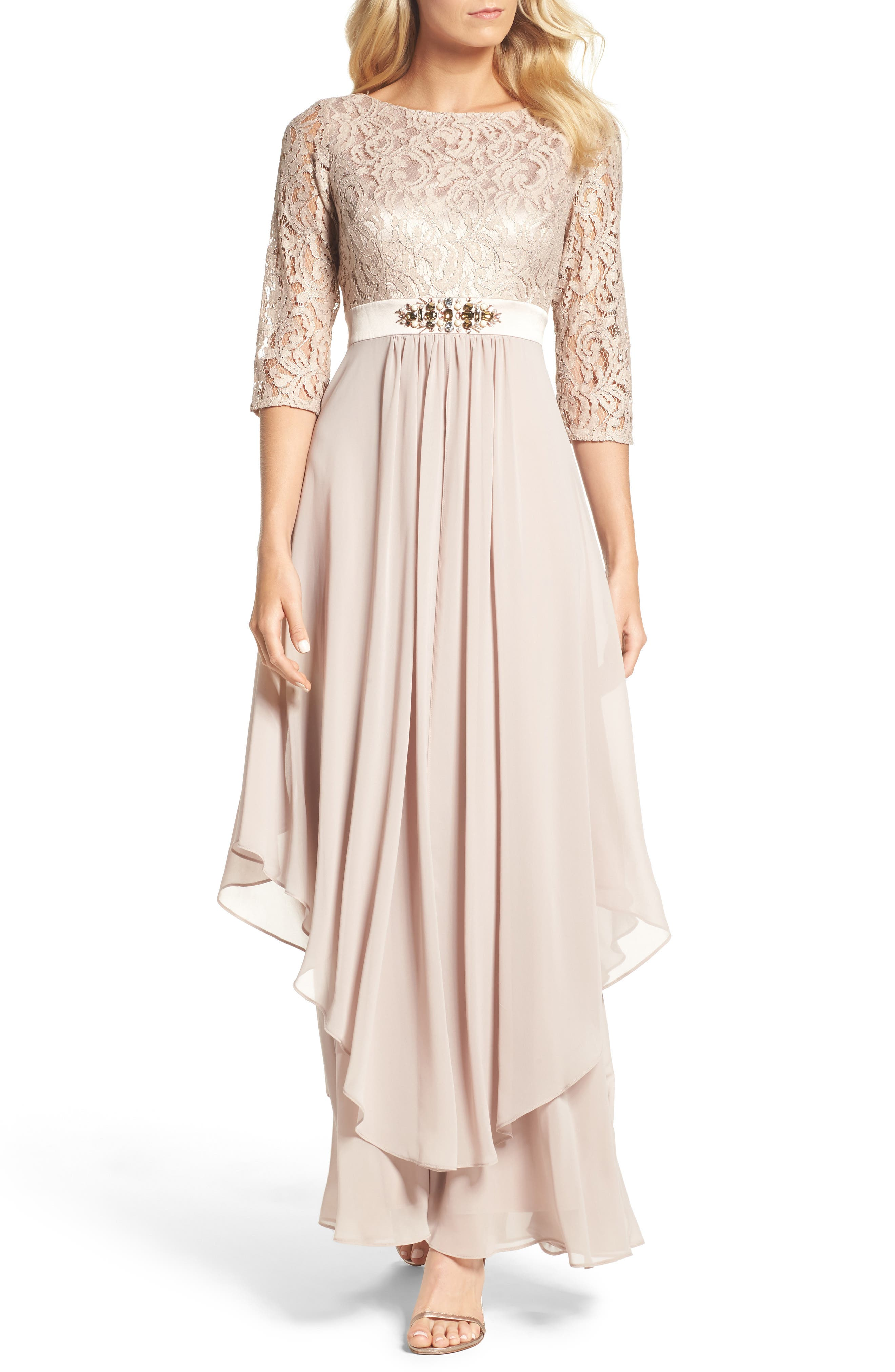 Embellished Lace & Chiffon Gown,                         Main,                         color, Taupe