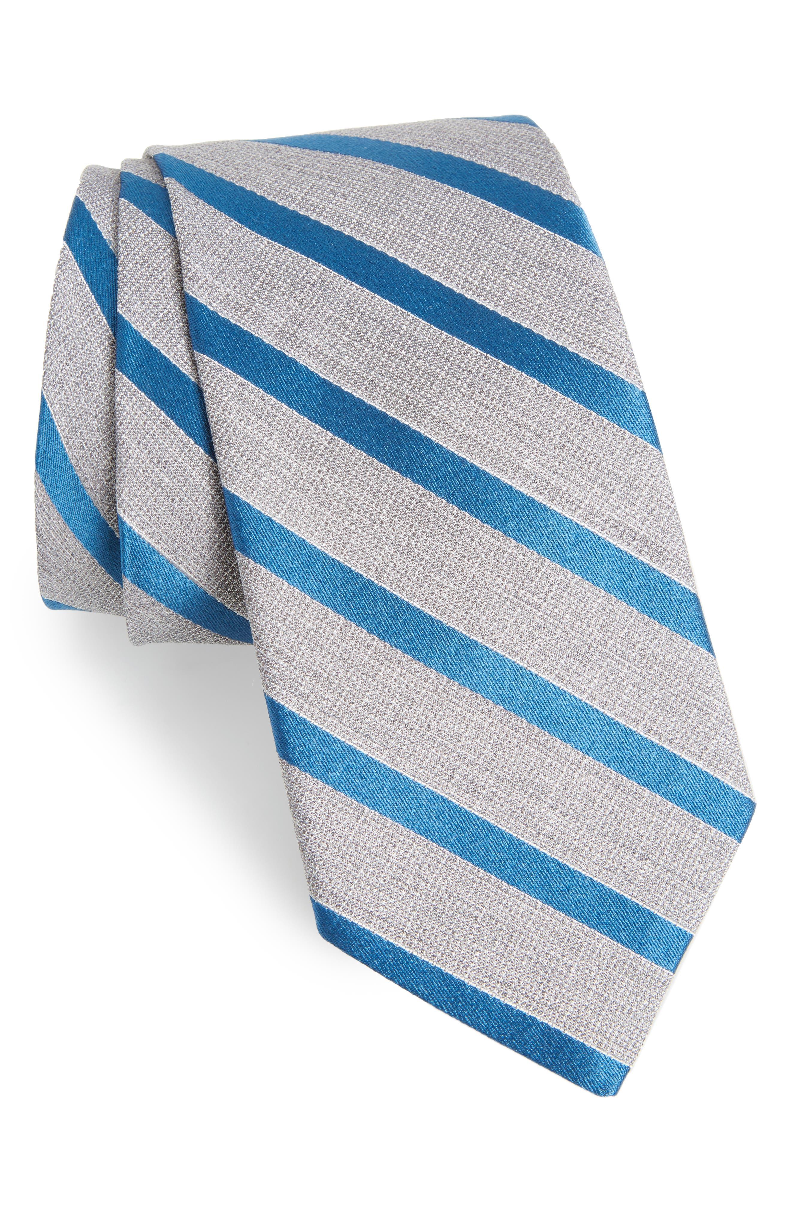 Stripe Silk Tie,                         Main,                         color, Azure Stripe