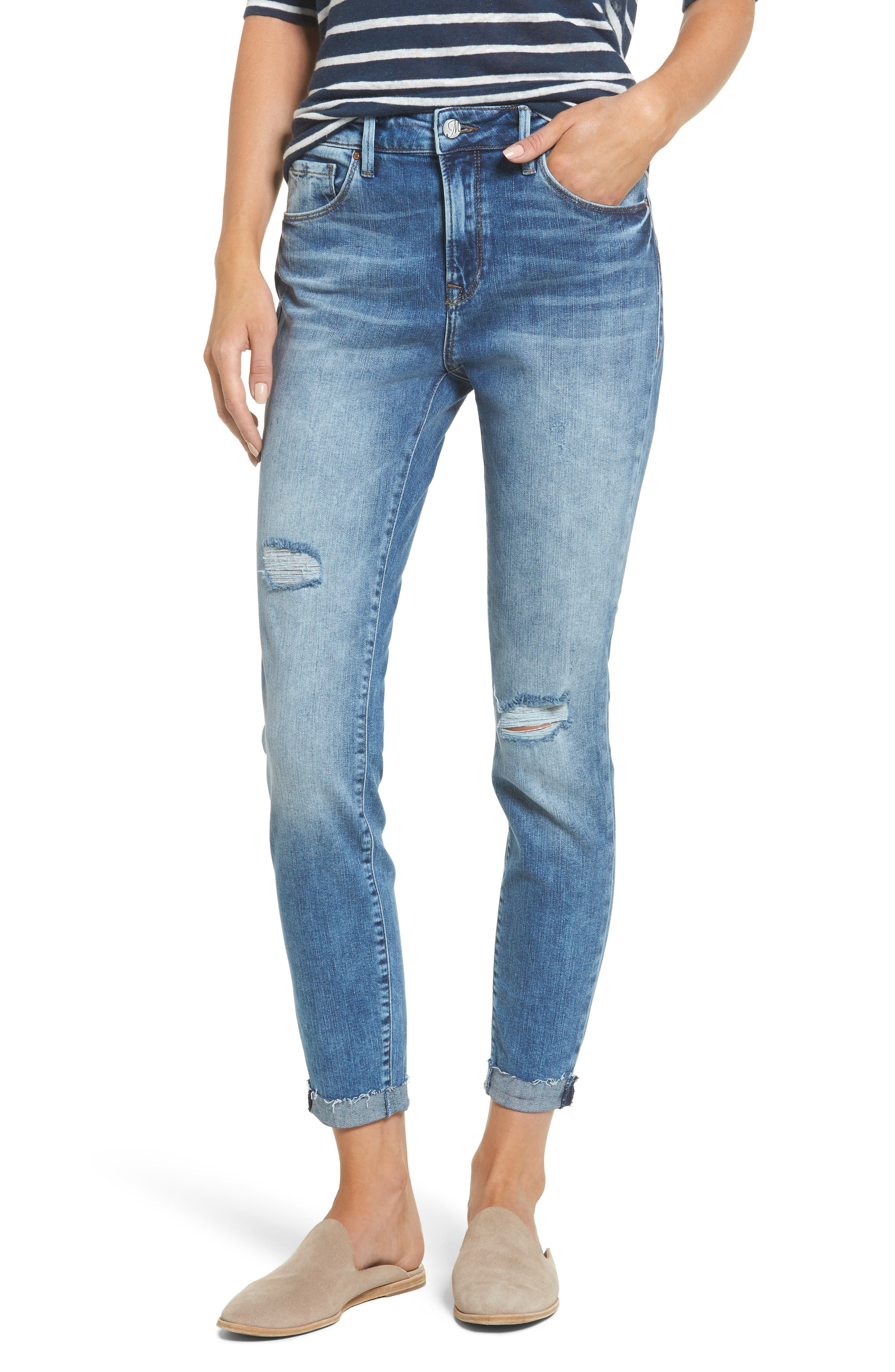 Mavi Jeans Tess Ripped Skinny Crop Jeans (Shaded Vintage)