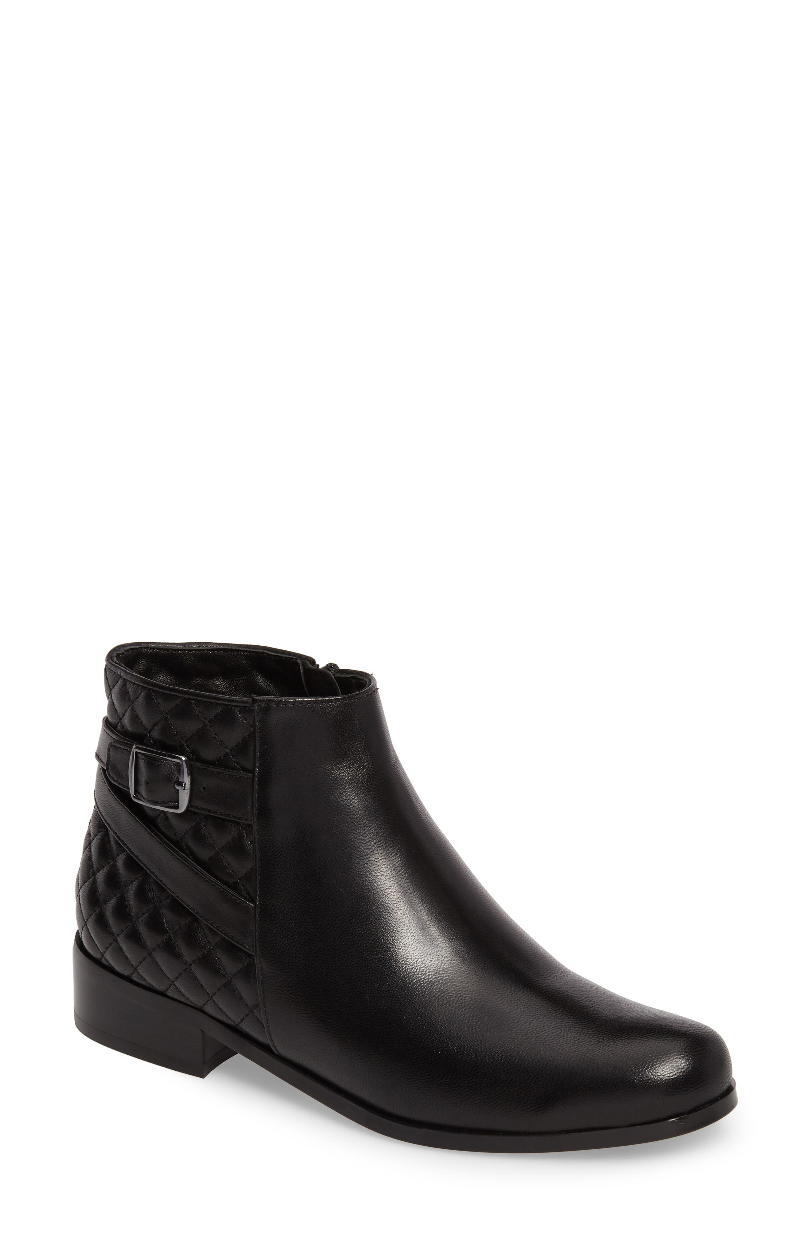 Reanne Buckle Bootie,                             Main thumbnail 1, color,                             Black Leather