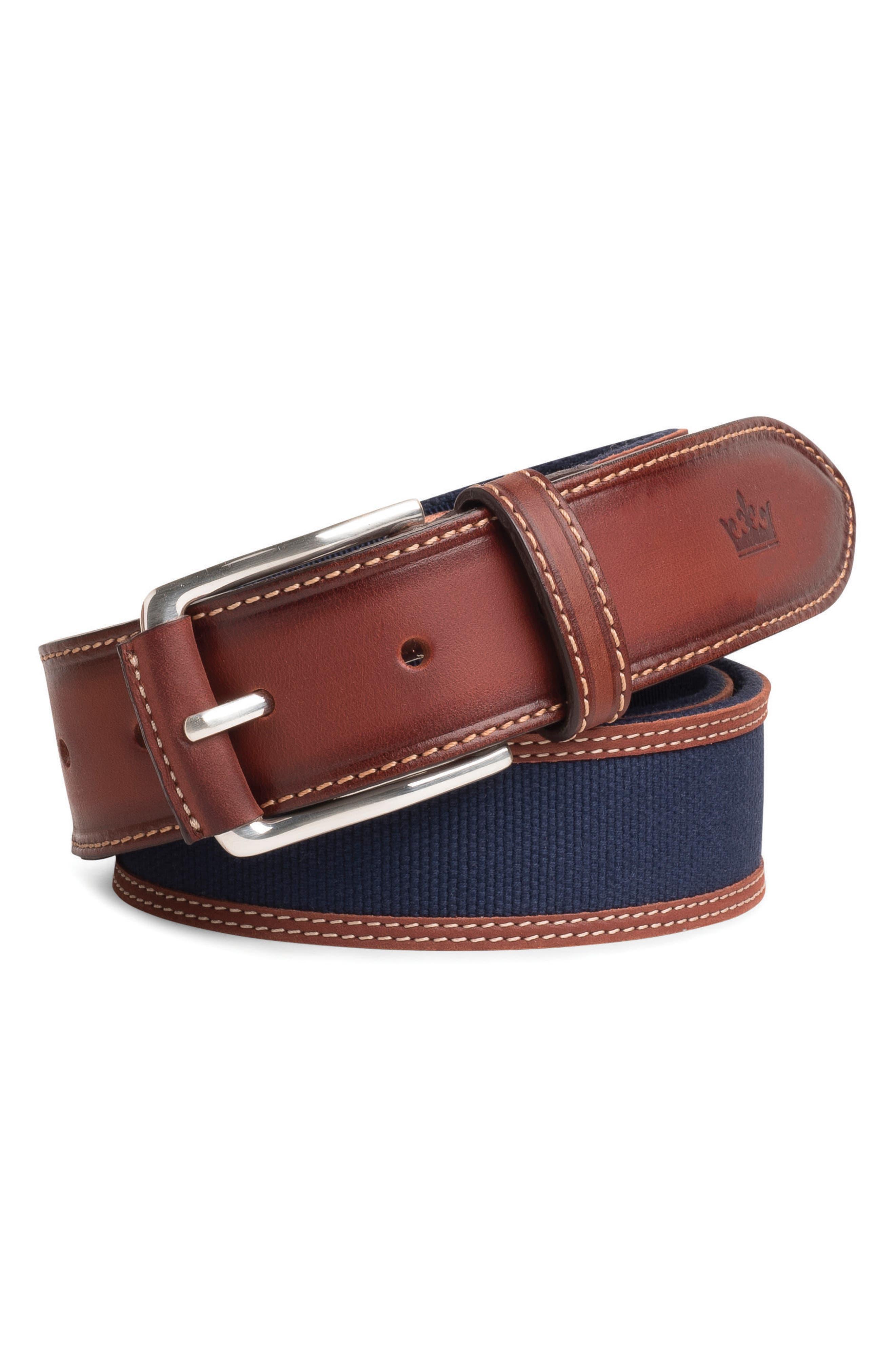 Peter Millar Canvas & Leather Belt