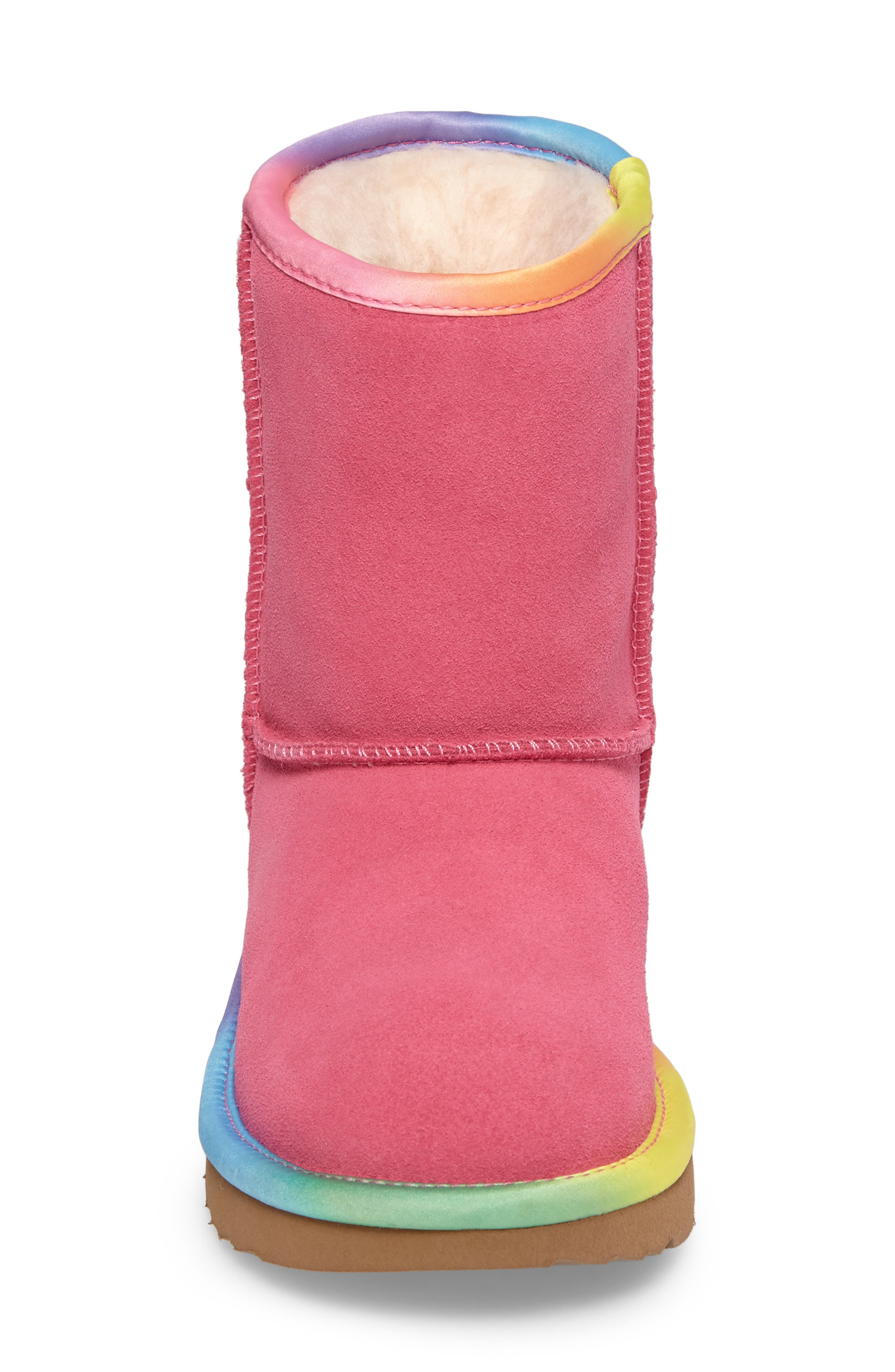 Alternate Image 4  - UGG® Classic Short II Water-Resistant Genuine Shearling Rainbow Boot (Walker, Toddler, Little Kid & Big Kid)