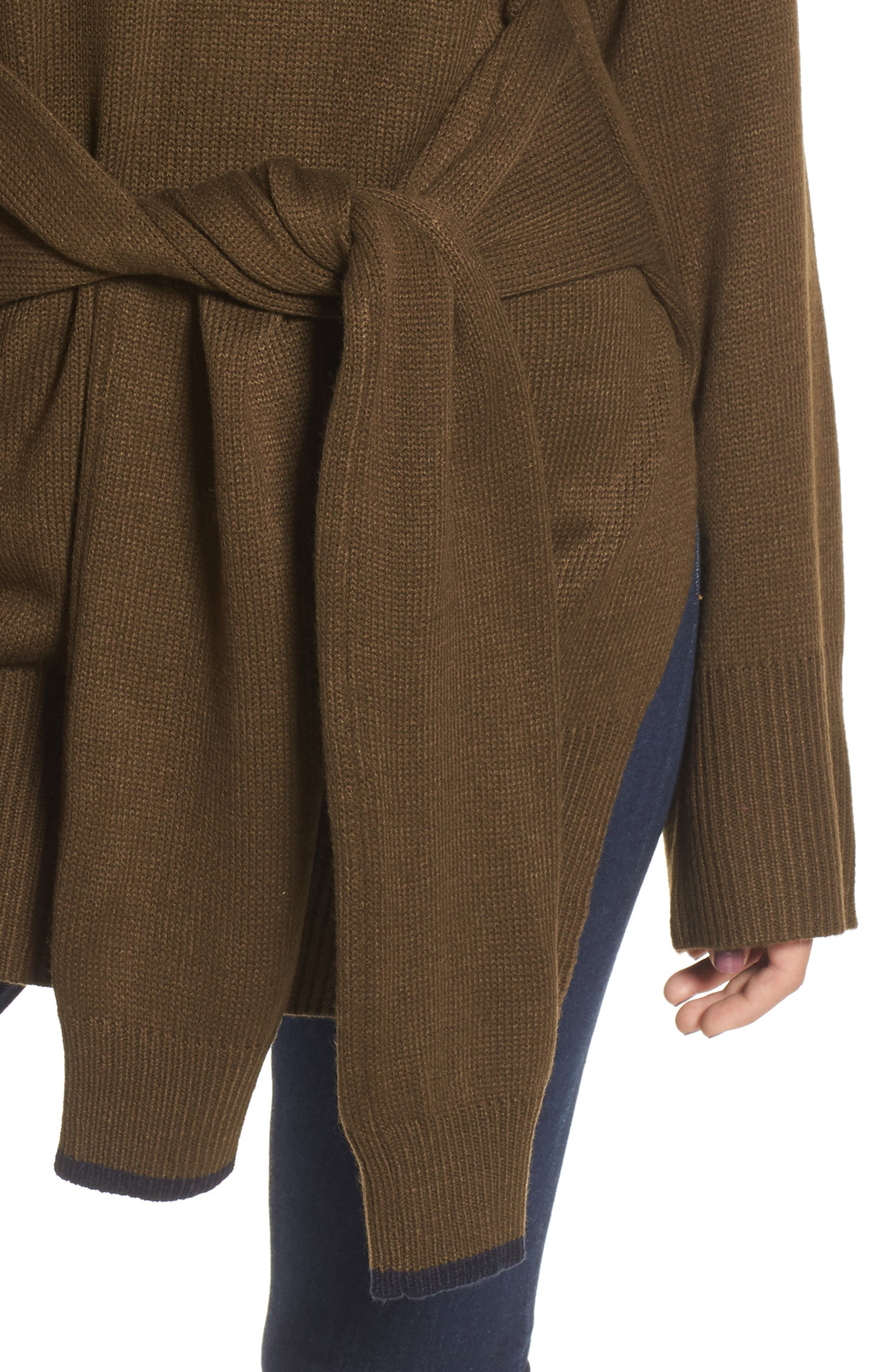 Tie Front Sweater,                             Alternate thumbnail 4, color,                             Olive