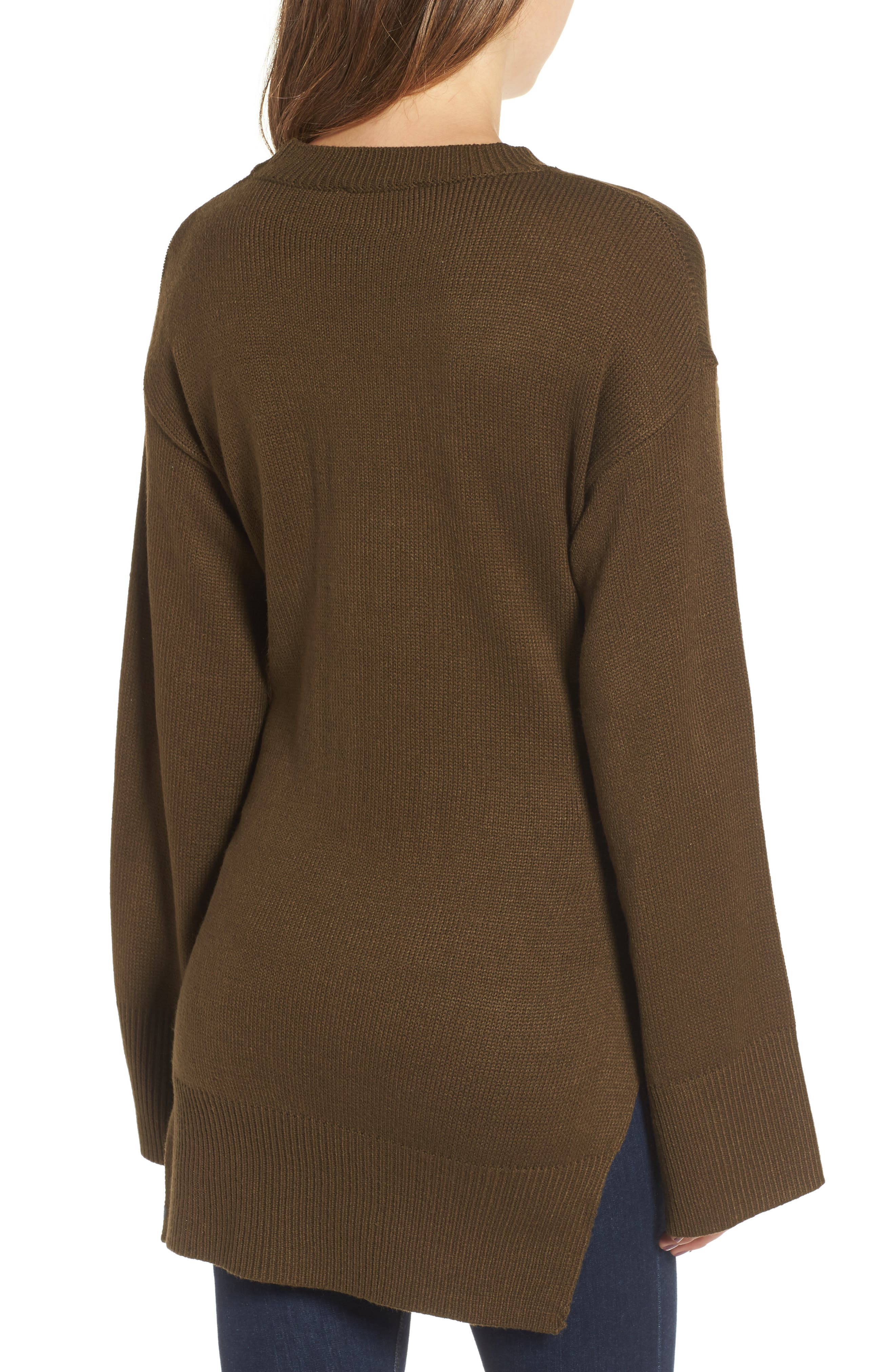 Tie Front Sweater,                             Alternate thumbnail 2, color,                             Olive