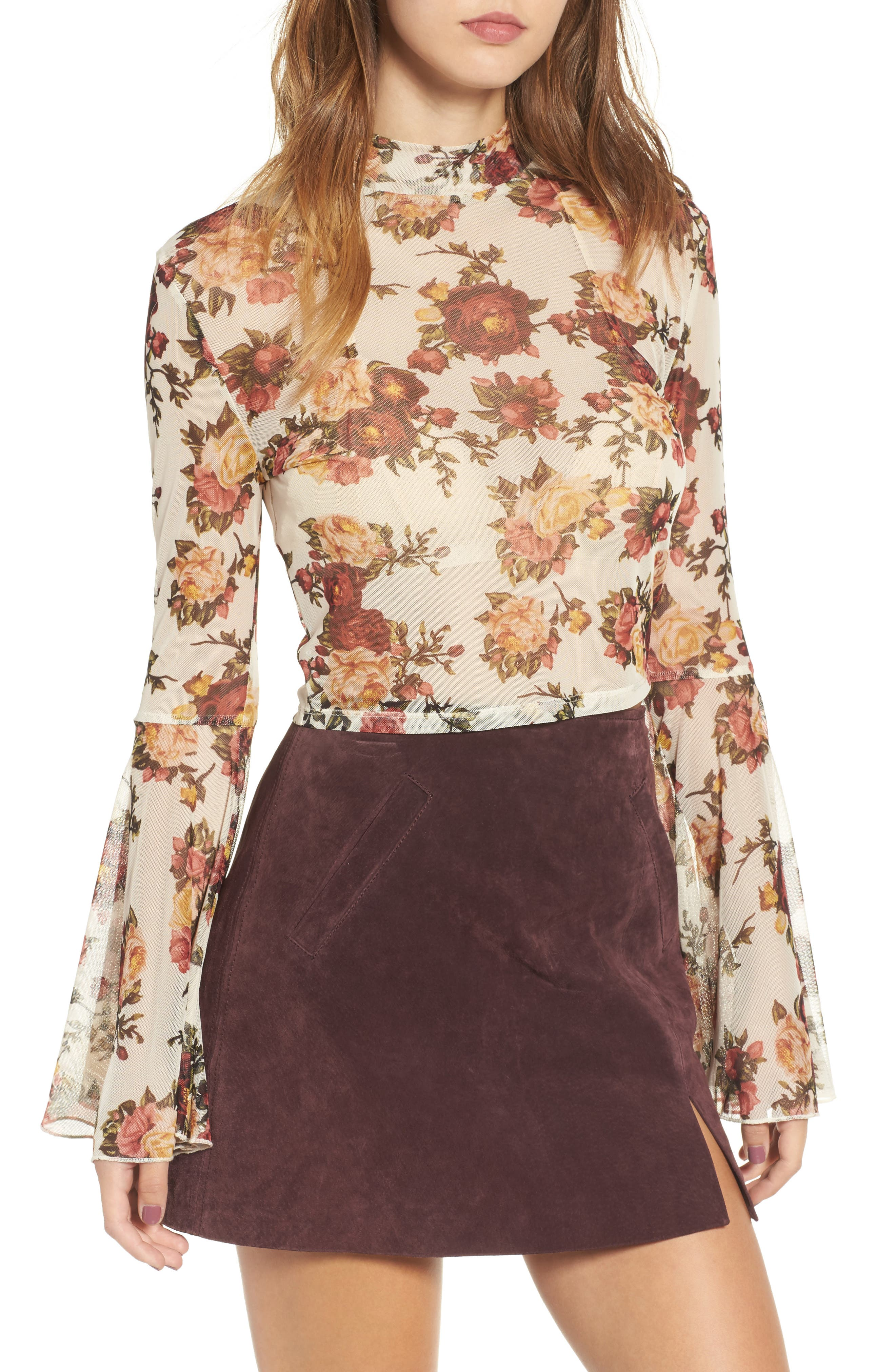 Floral Mesh Bell Sleeve Crop Top,                         Main,                         color, Ivory Print