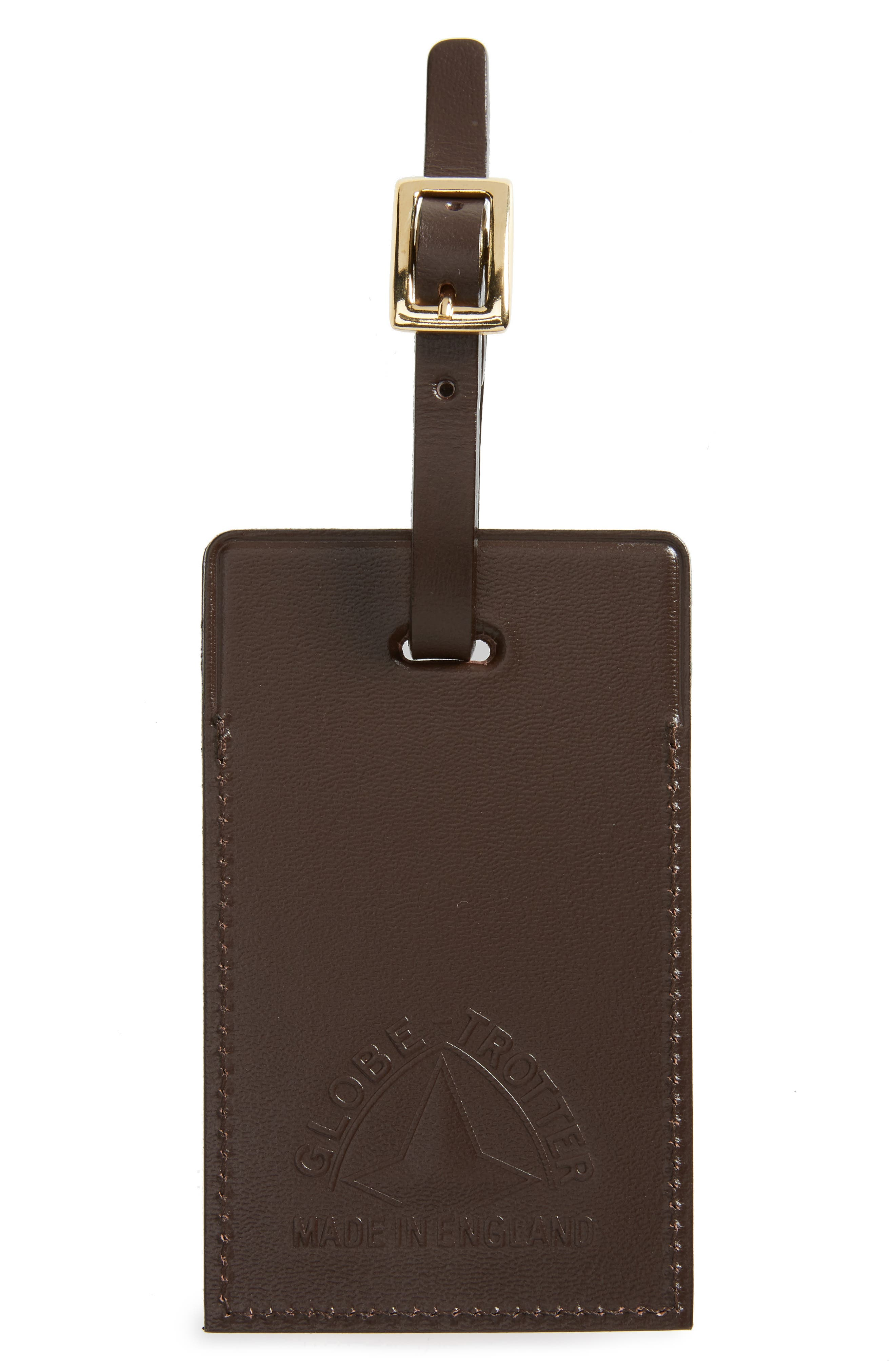 GLOBE-TROTTER CENTENARY LUGGAGE TAG - BROWN