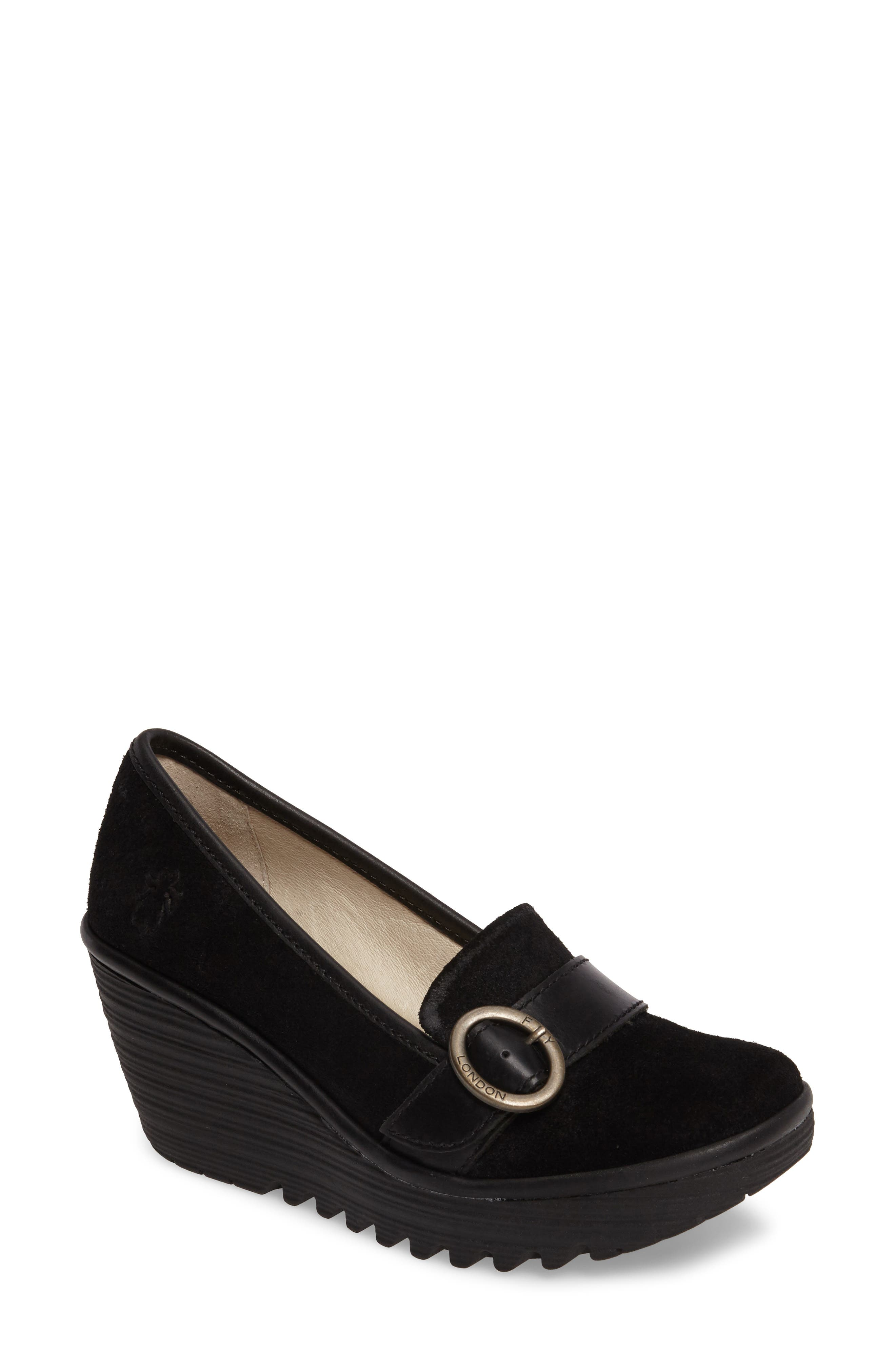Yond Wedge,                             Main thumbnail 1, color,                             Black Suede