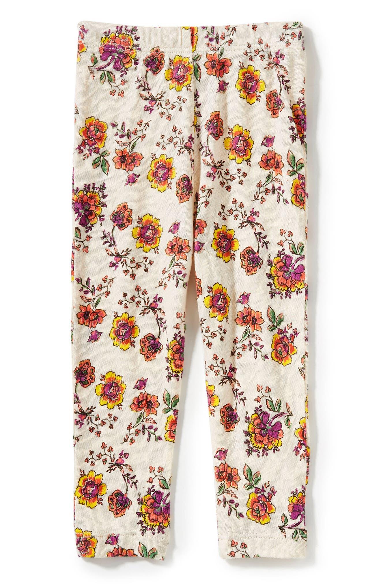Peek Floral Print Leggings,                             Main thumbnail 1, color,                             Cream