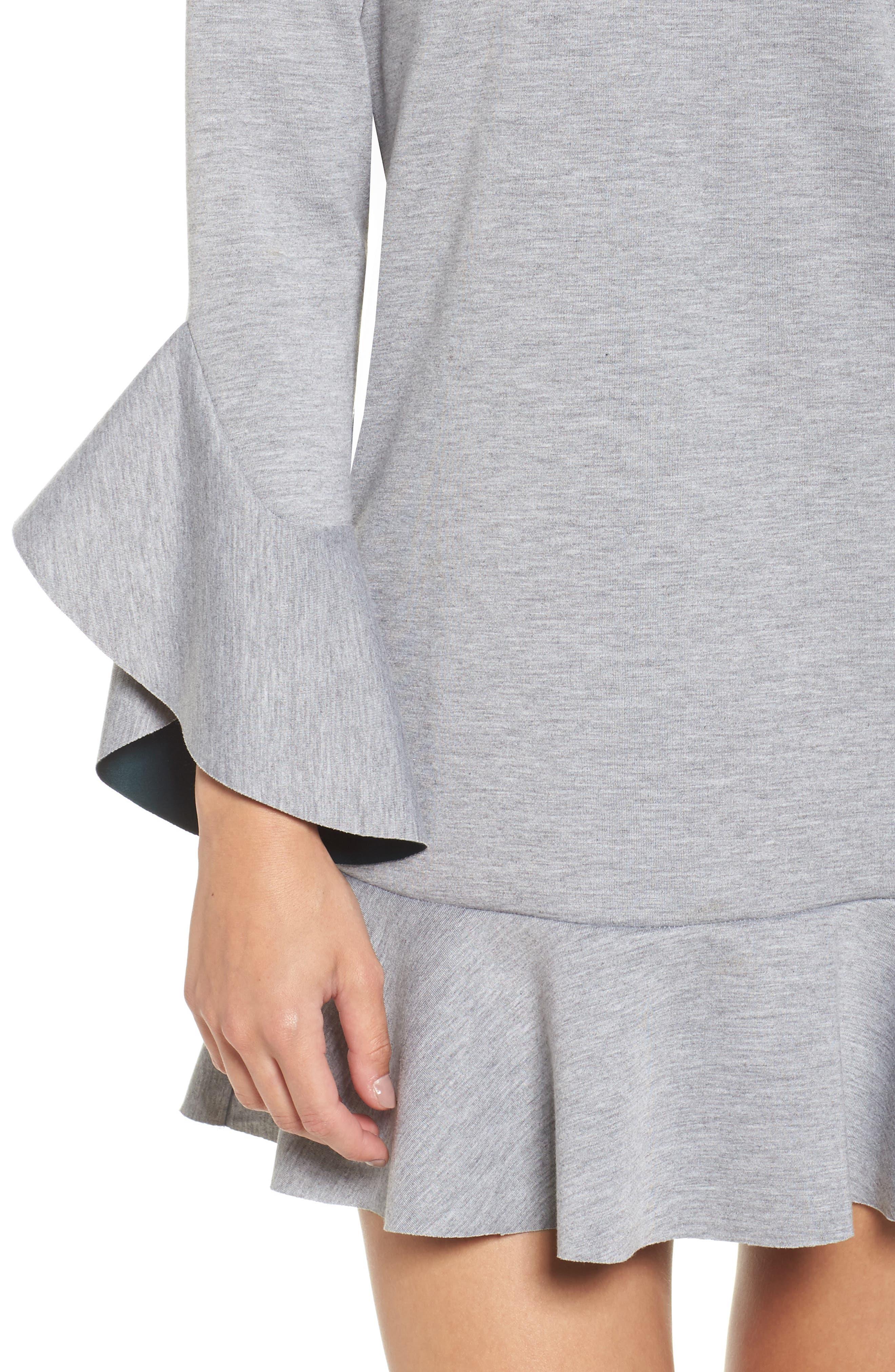 Ruffle Scuba Dress,                             Alternate thumbnail 5, color,                             Grey Heather
