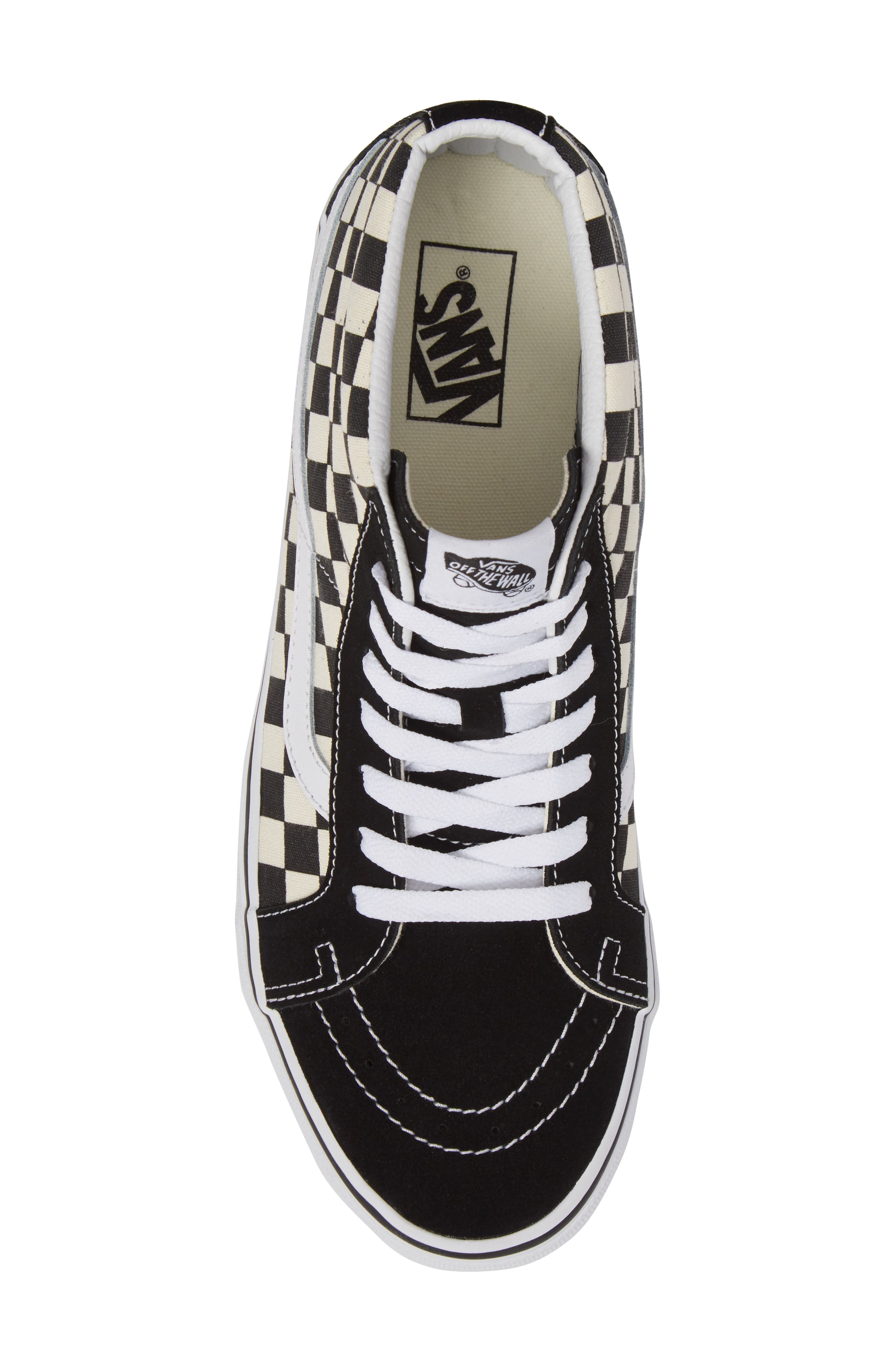 Sk8-Mid Reissue Sneaker,                             Alternate thumbnail 5, color,                             White Checker Canvas/ Suede