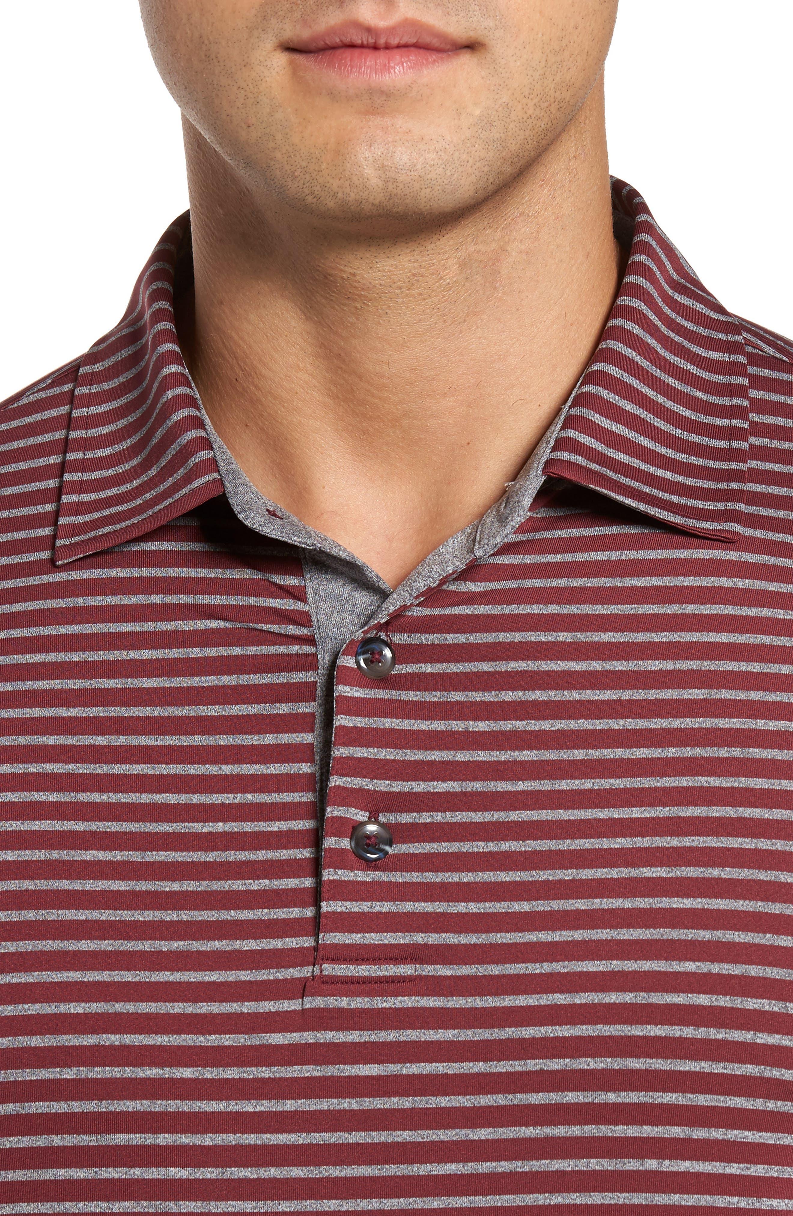 Control Stripe Jersey Polo,                             Alternate thumbnail 4, color,                             Oxblood