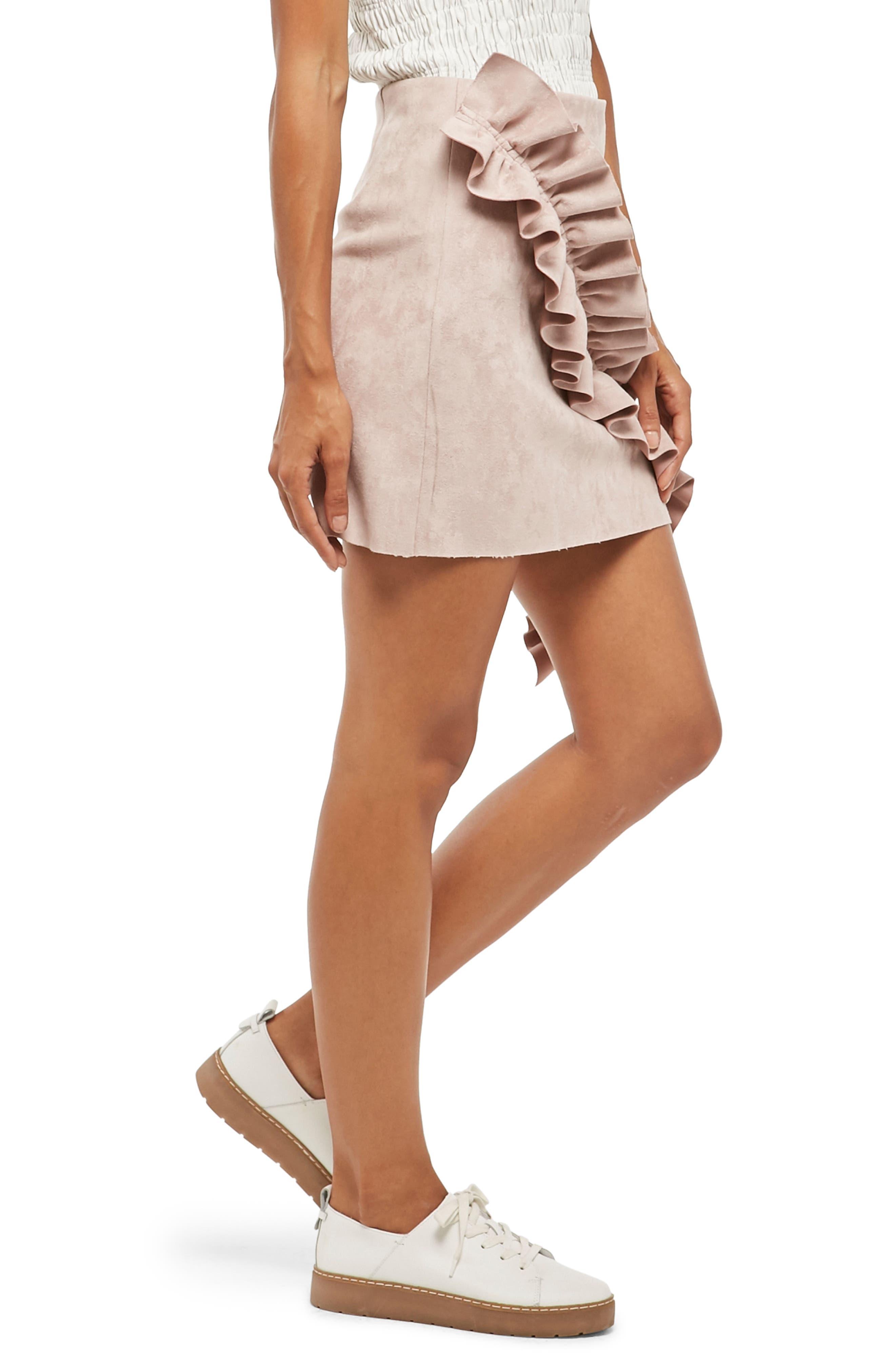 Alpha & Omeda Faux Suede Ruffle Skirt,                             Alternate thumbnail 3, color,                             Mauve