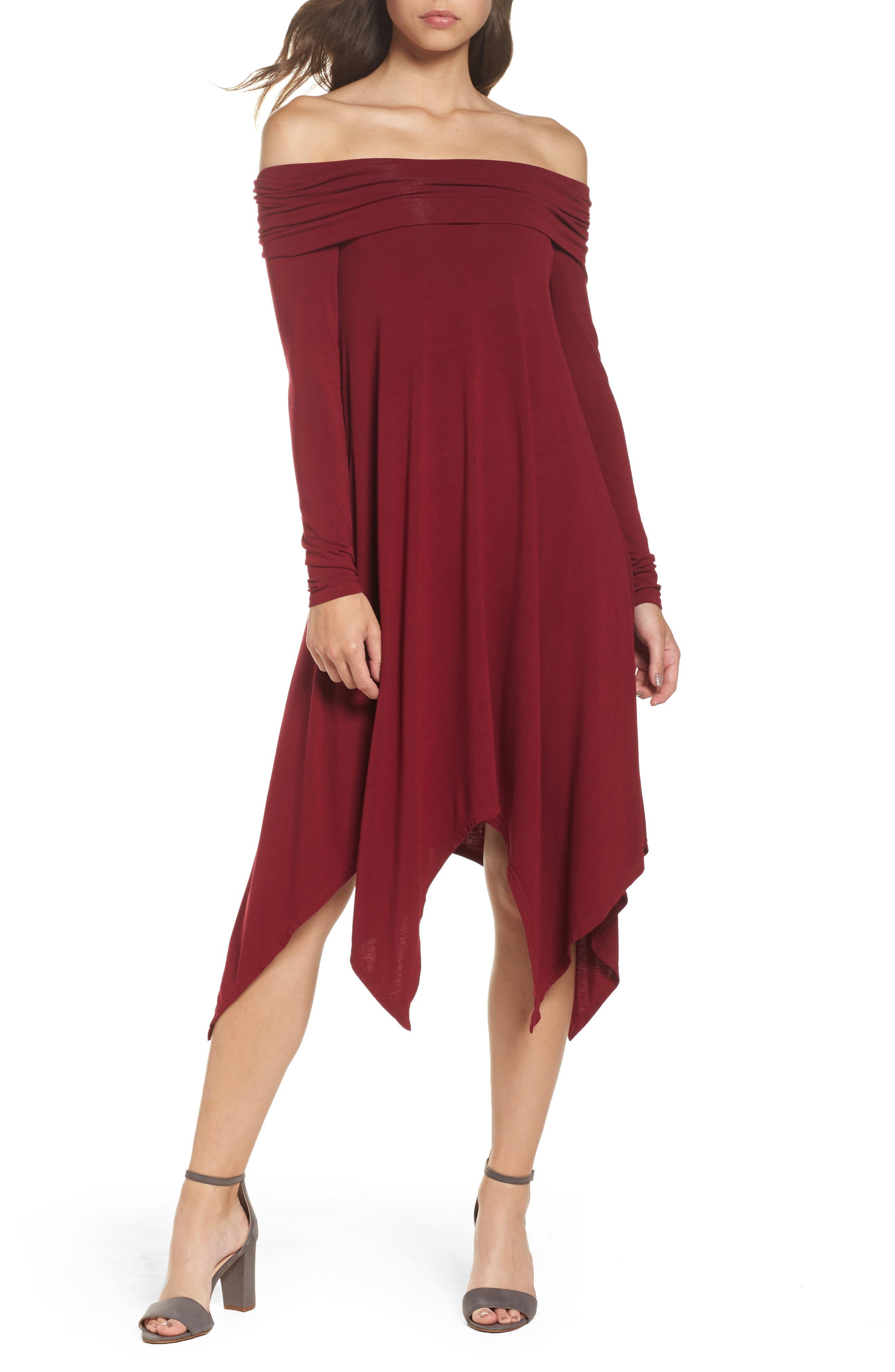 BCBGMAXAZRIA Off the Shoulder Knit A-Line Dress