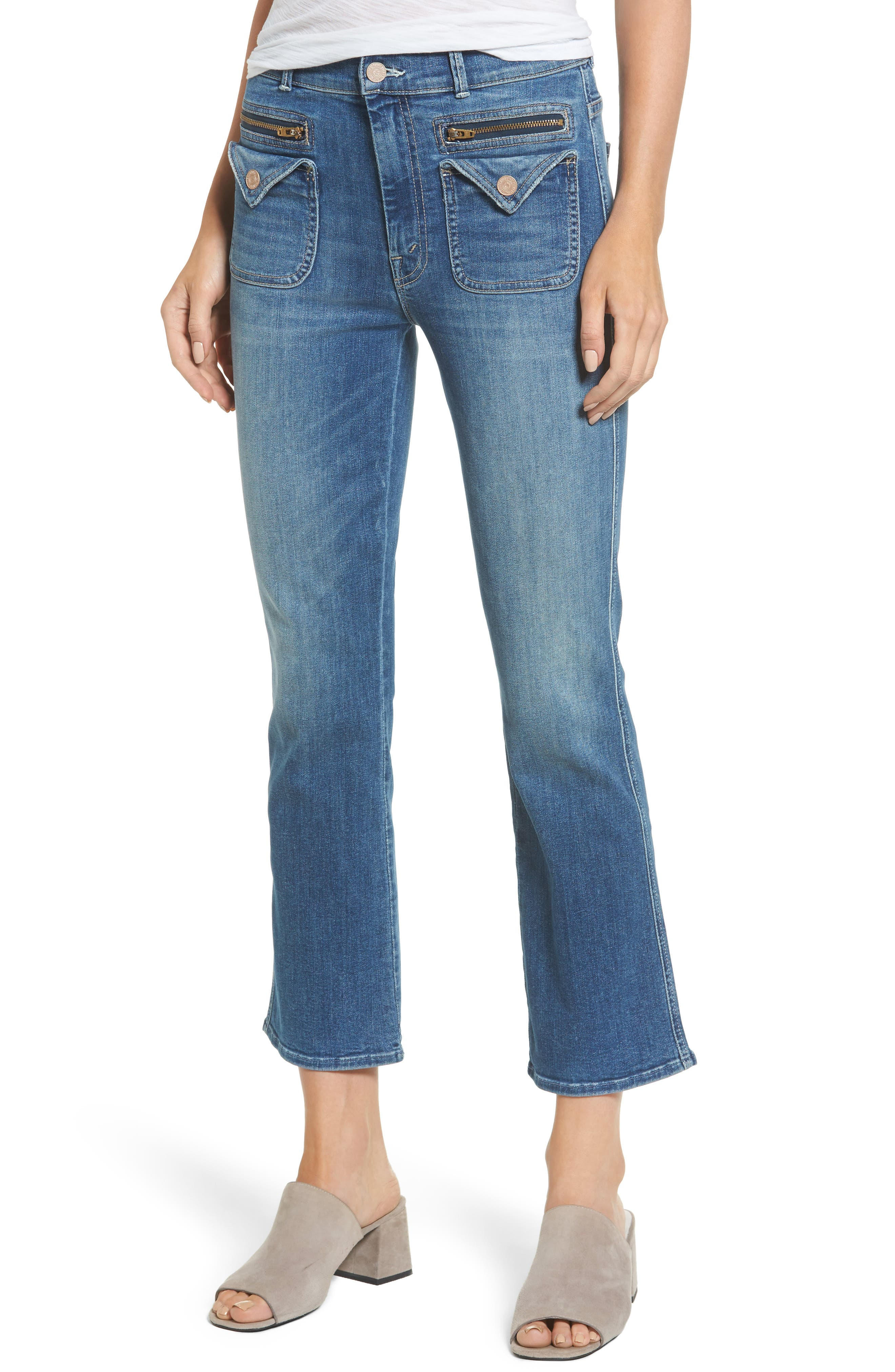 Alternate Image 1 Selected - MOTHER The Insider High Waist Crop Bootcut Jeans (Racing Heart)