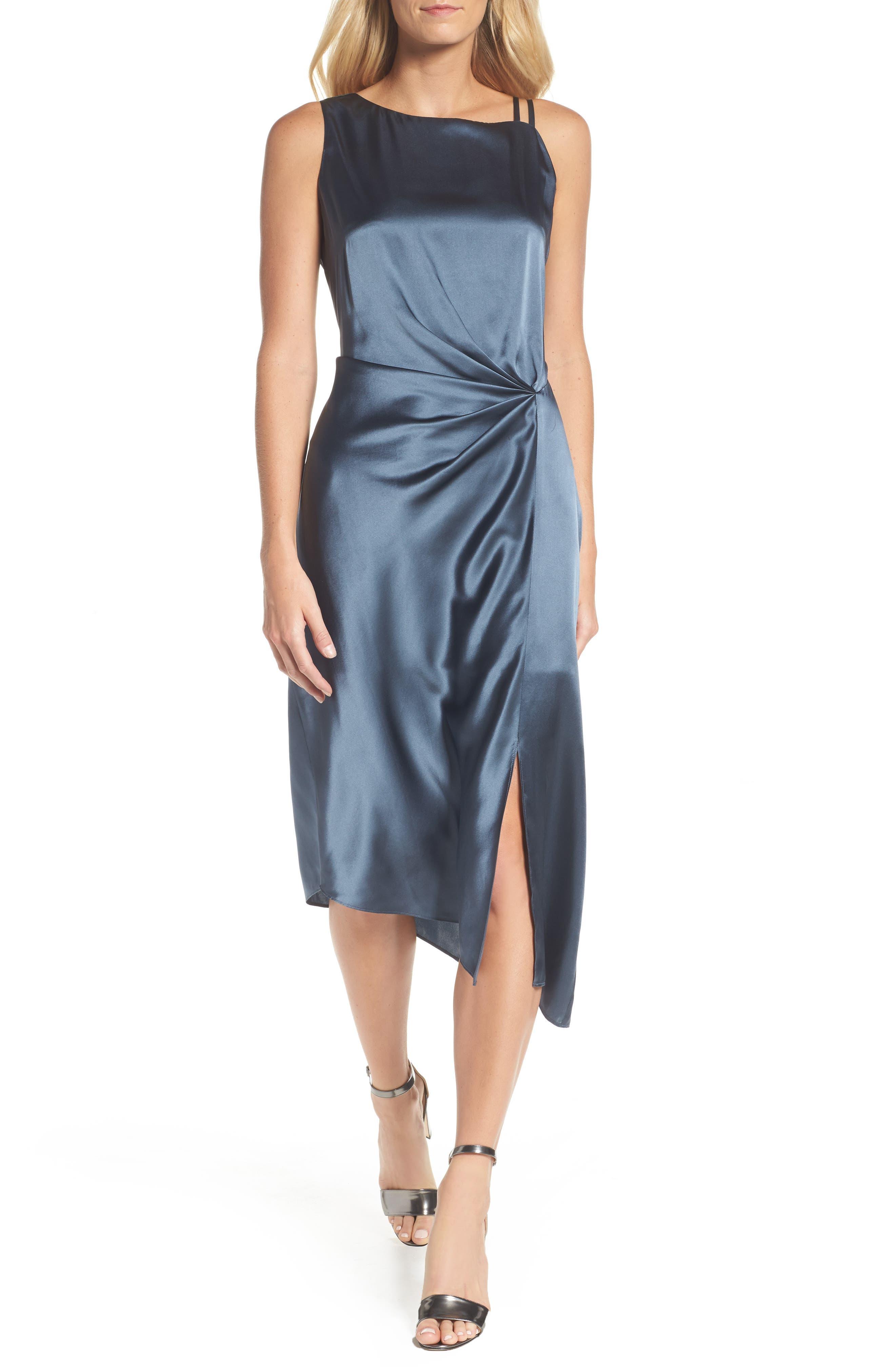 NIC+ZOE Ruched Satin Sheath Dress