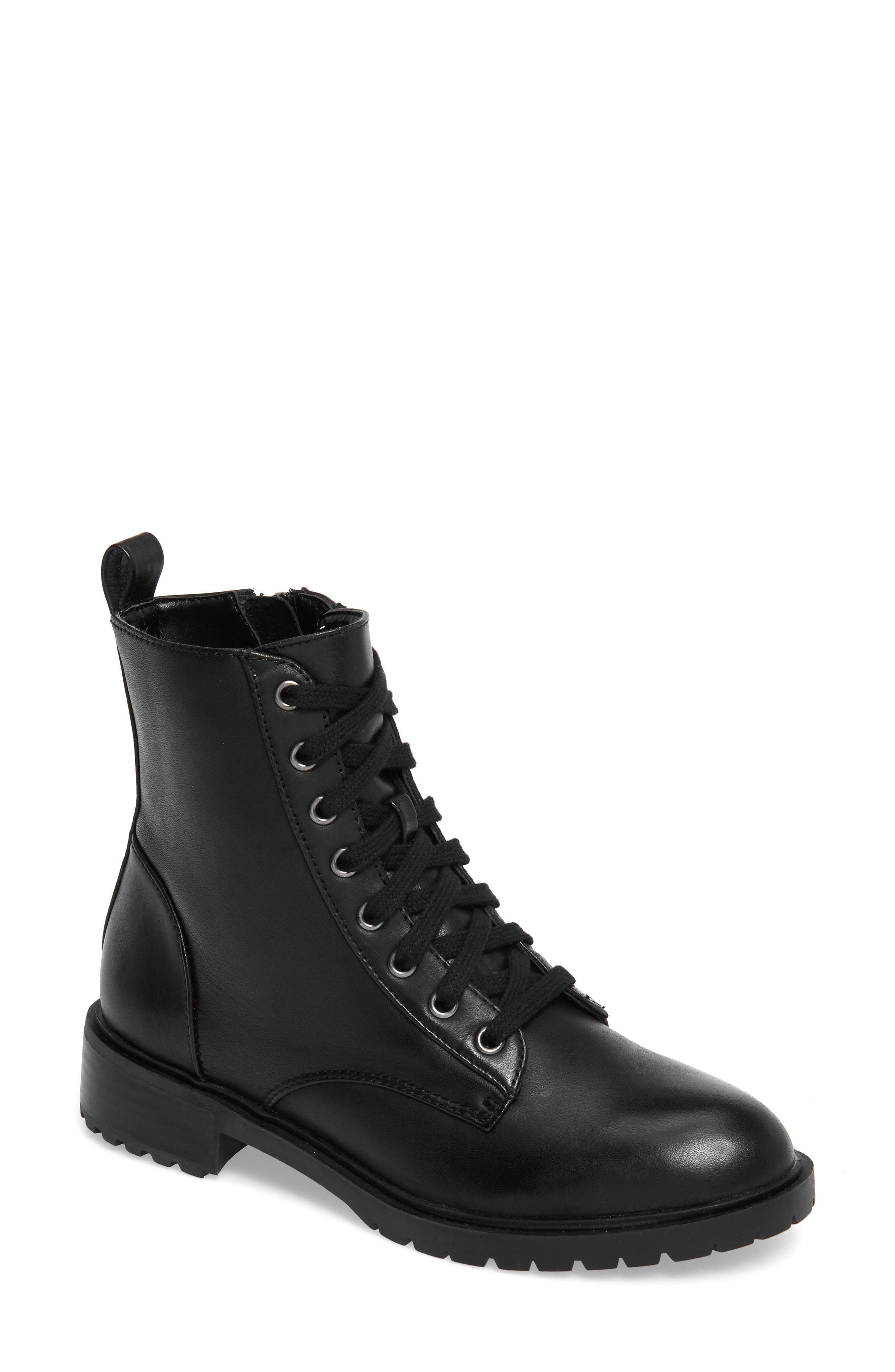 Officer Combat Boot,                             Main thumbnail 1, color,                             Black Leather