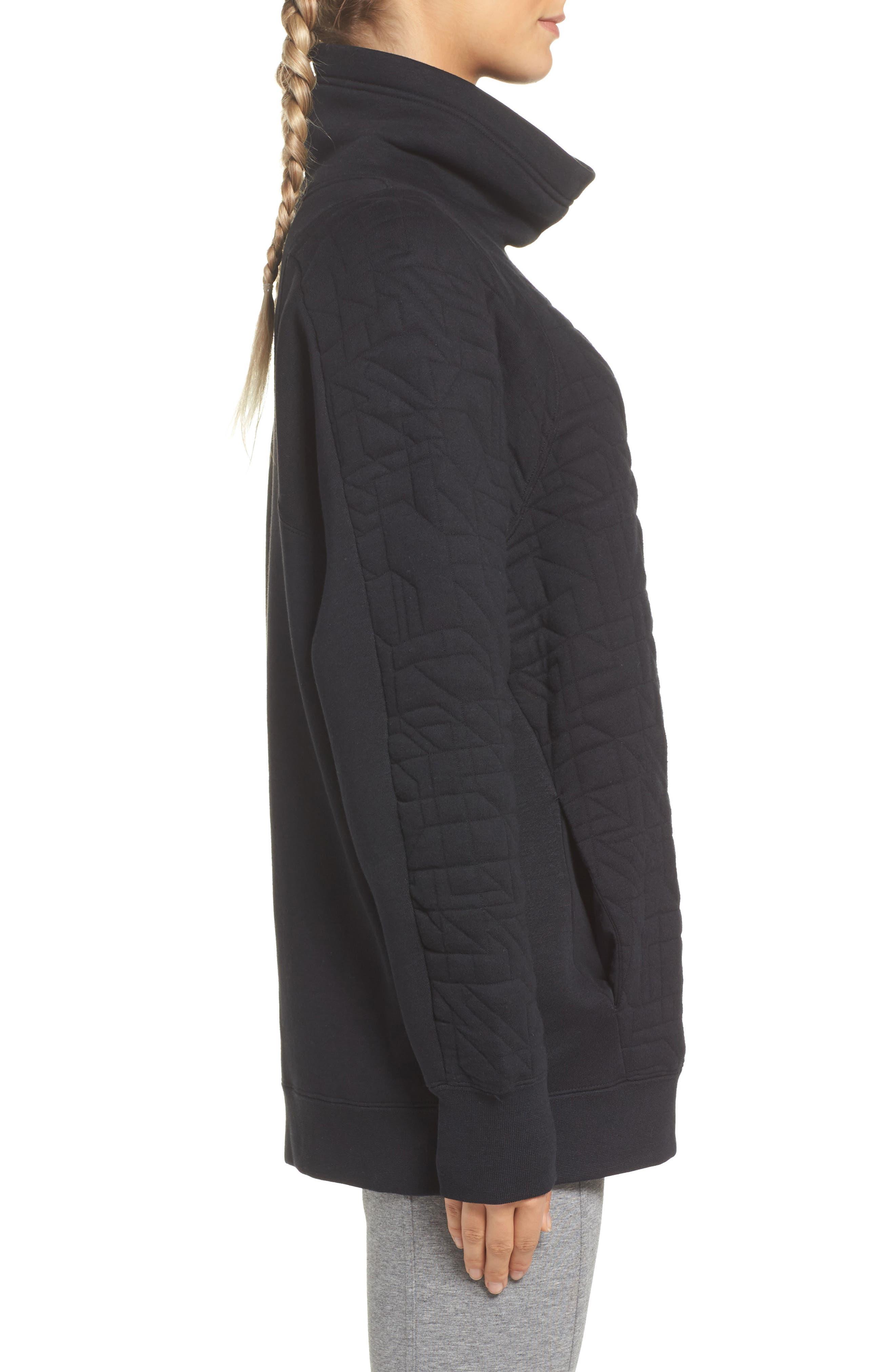 Sportswear Quilted Funnel Neck Pullover,                             Alternate thumbnail 3, color,                             Black/ Light Bone